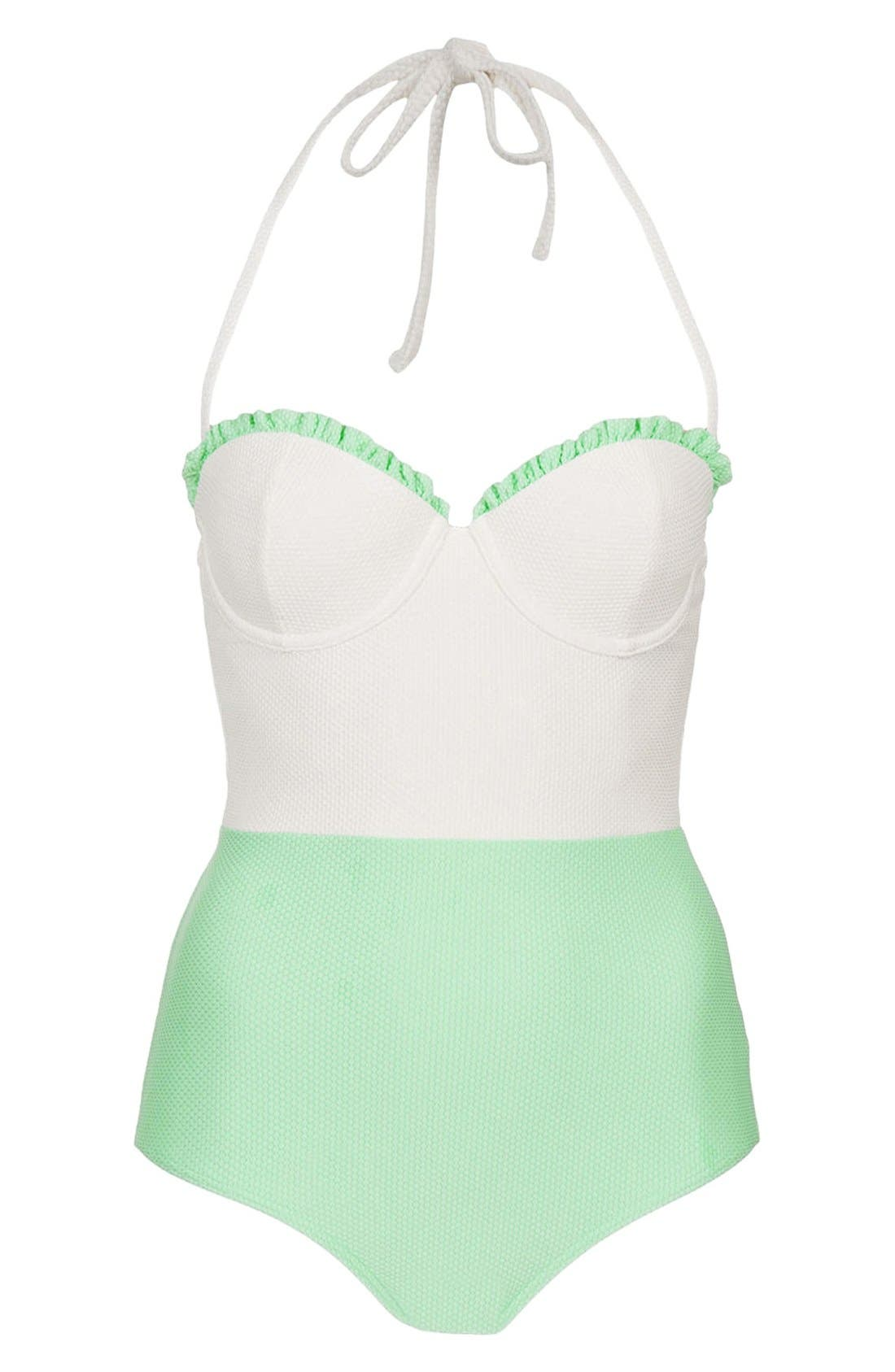 Alternate Image 1 Selected - Topshop Colorblock One-Piece Swimsuit