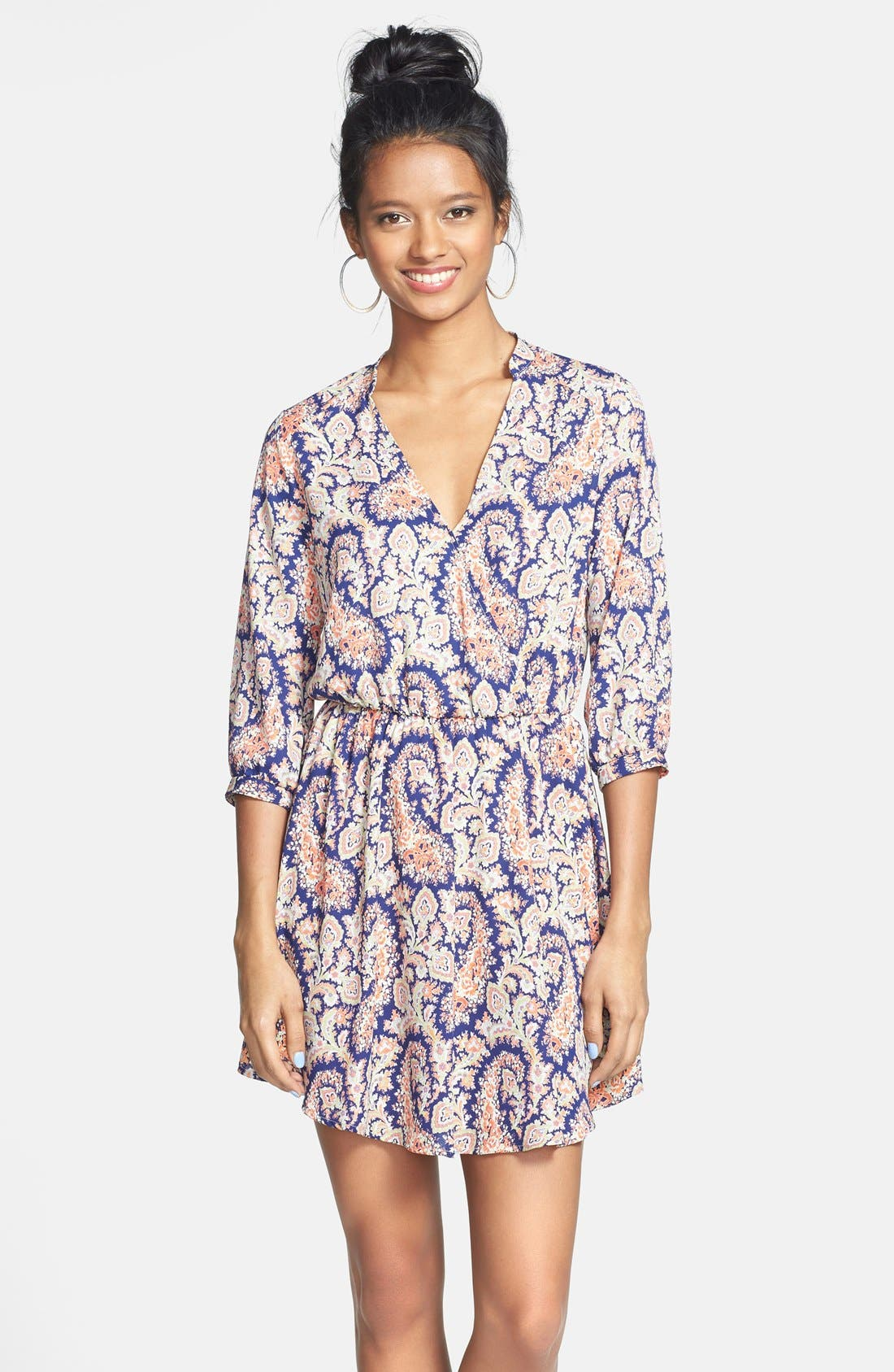 Main Image - Lush 'Kendal' Paisley Print Surplice Faux Wrap Dress (Juniors)