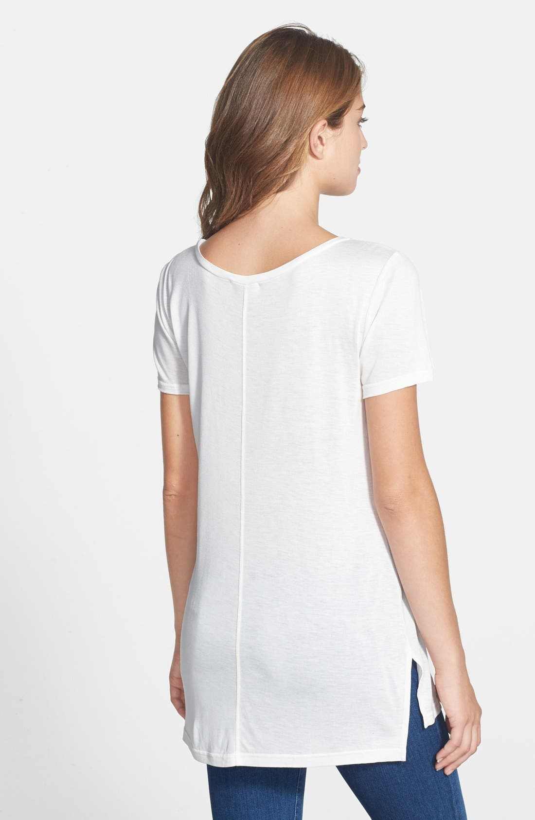 Alternate Image 2  - Halogen® Side Slit Long Scoop Neck Tee (Regular & Petite)