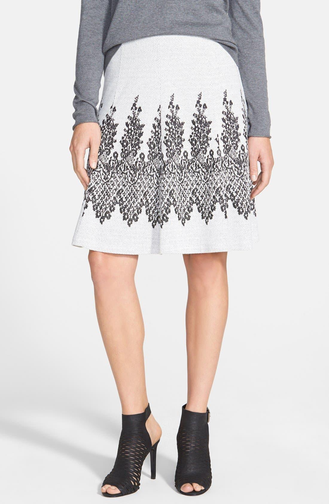 Main Image - ECI Flared Jacquard Knit Skirt