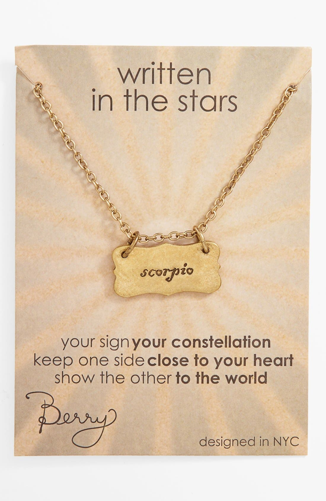 Main Image - Berry 'Zodiac - Scorpio' Reversible Pendant Necklace (Goldtone)