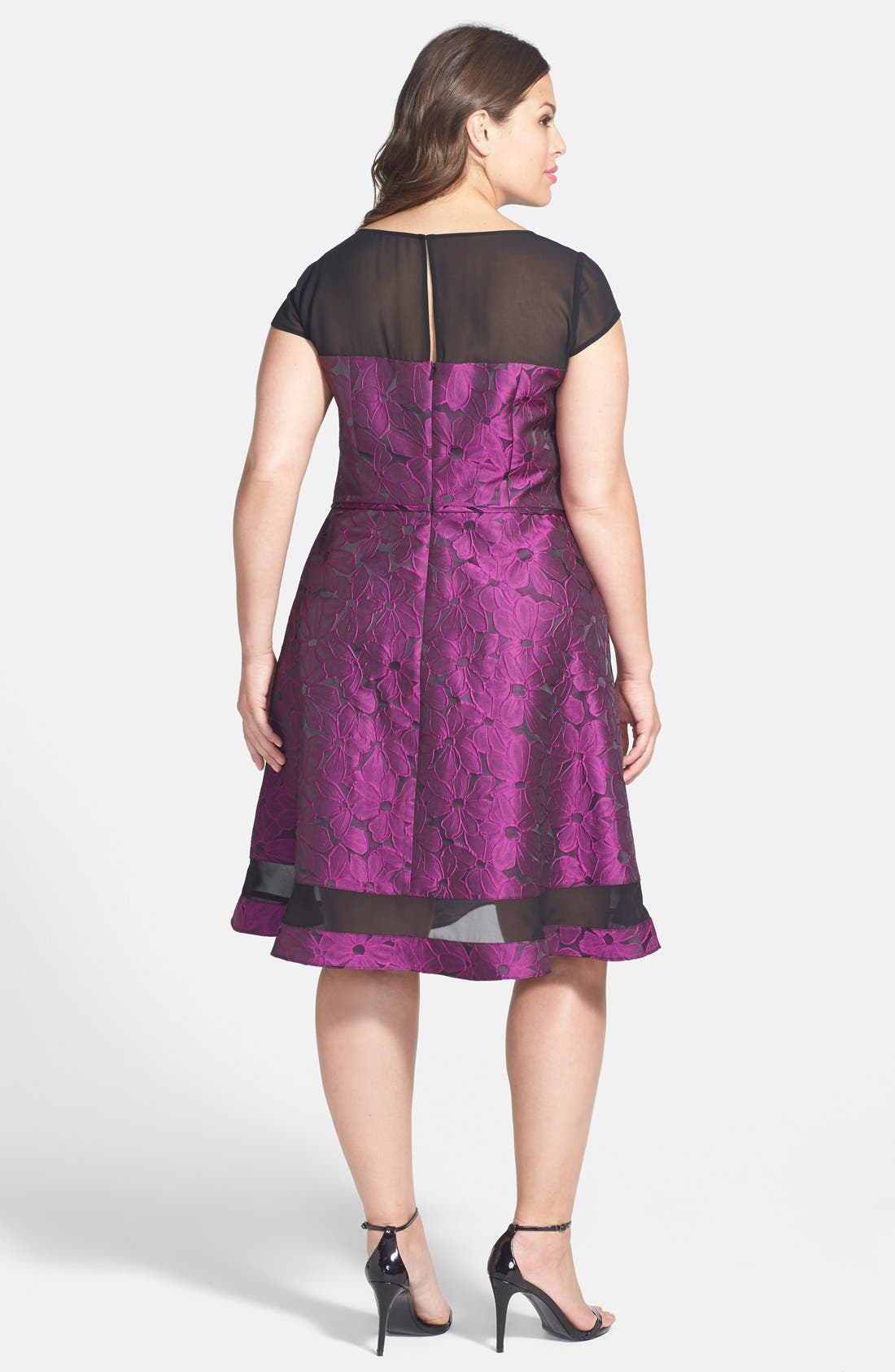 Alternate Image 2  - Adrianna Papell Chiffon Inset Jacquard Fit & Flare Dress (Plus Size)