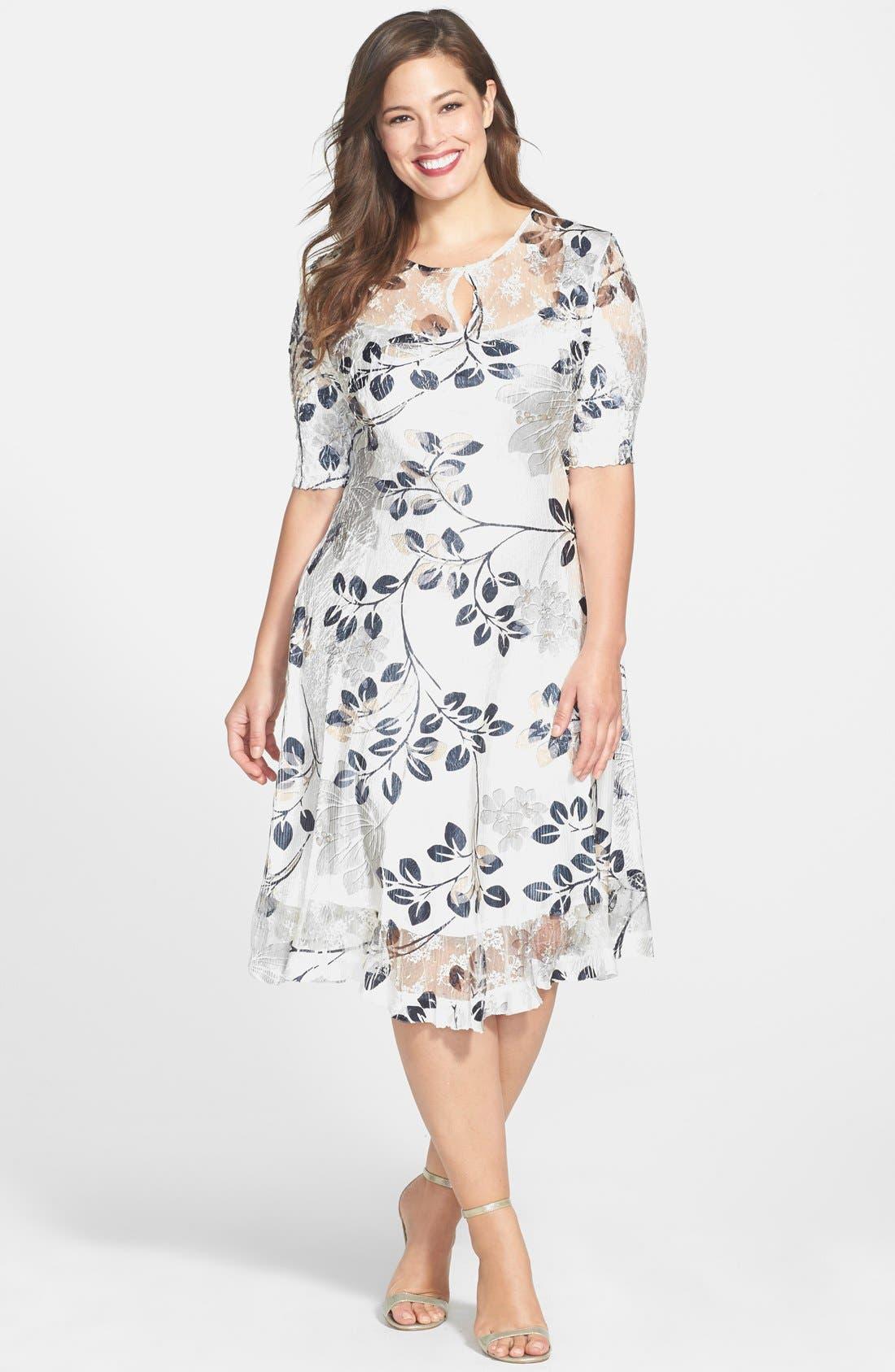 Main Image - Komarov Pleated Dress (Plus Size)