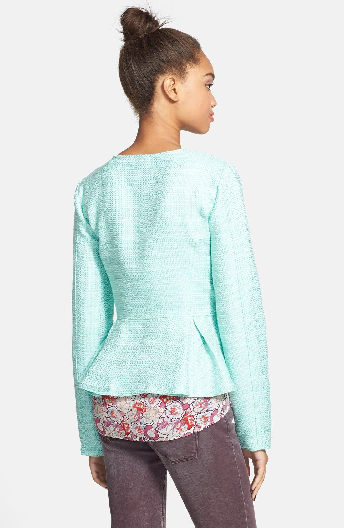 Alternate Image 2  - Stoosh Ruffle Back Tweed Jacket (Juniors)