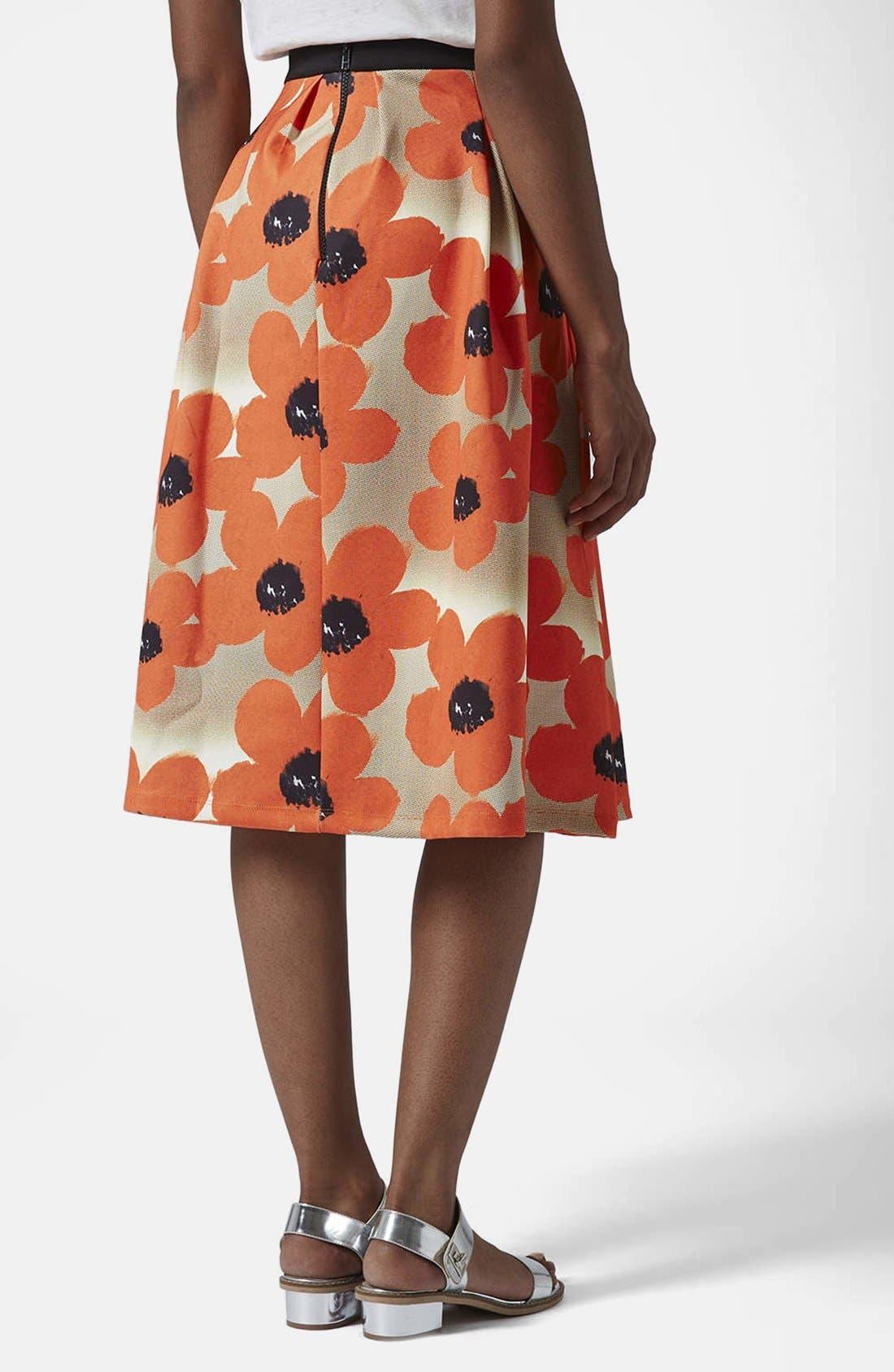 Alternate Image 2  - Topshop 'Sunscratch' Floral Print Scuba Midi Skirt
