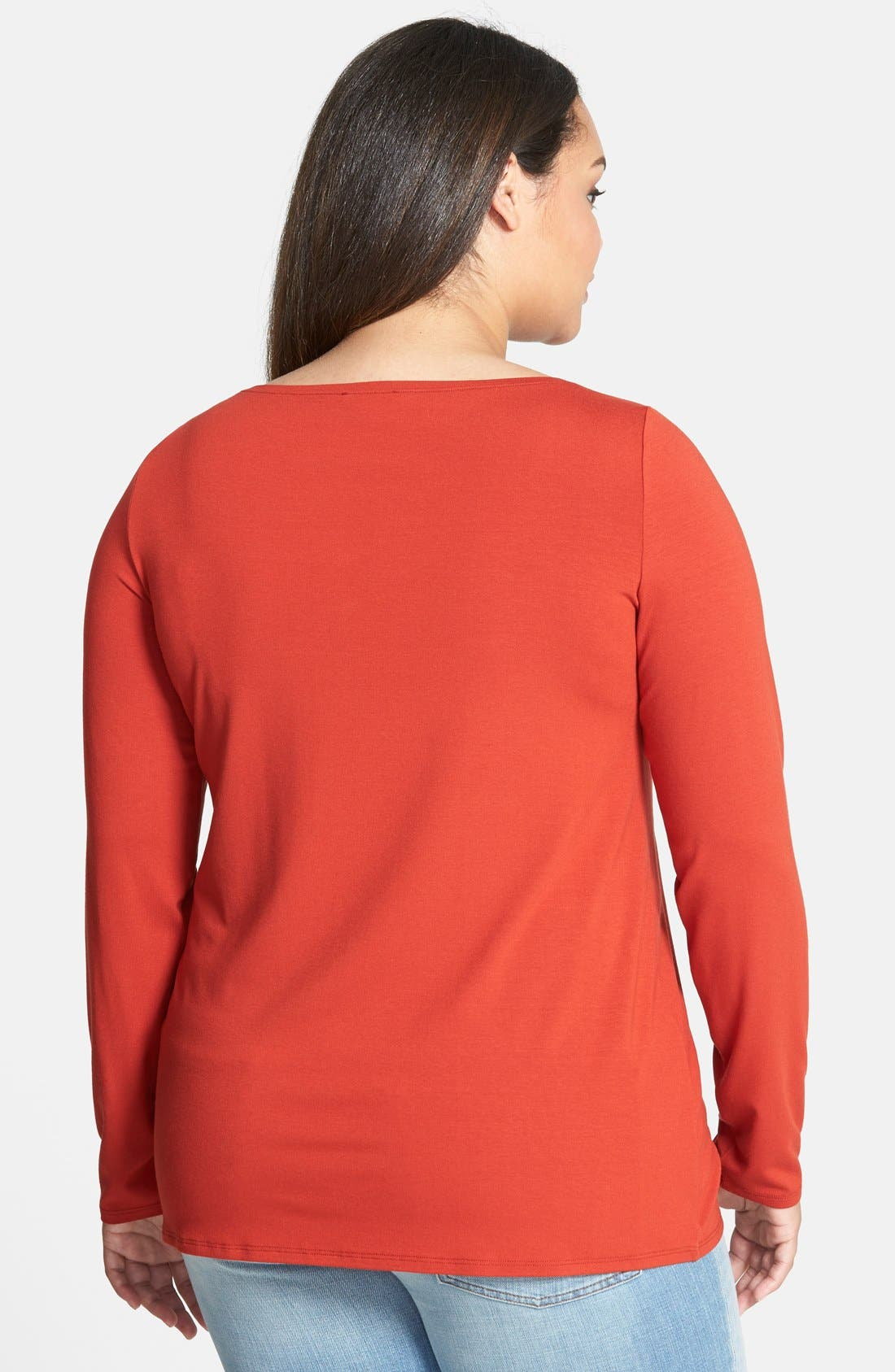 Alternate Image 2  - Eileen Fisher Bateau Neck Long Slim Jersey Top (Plus Size)