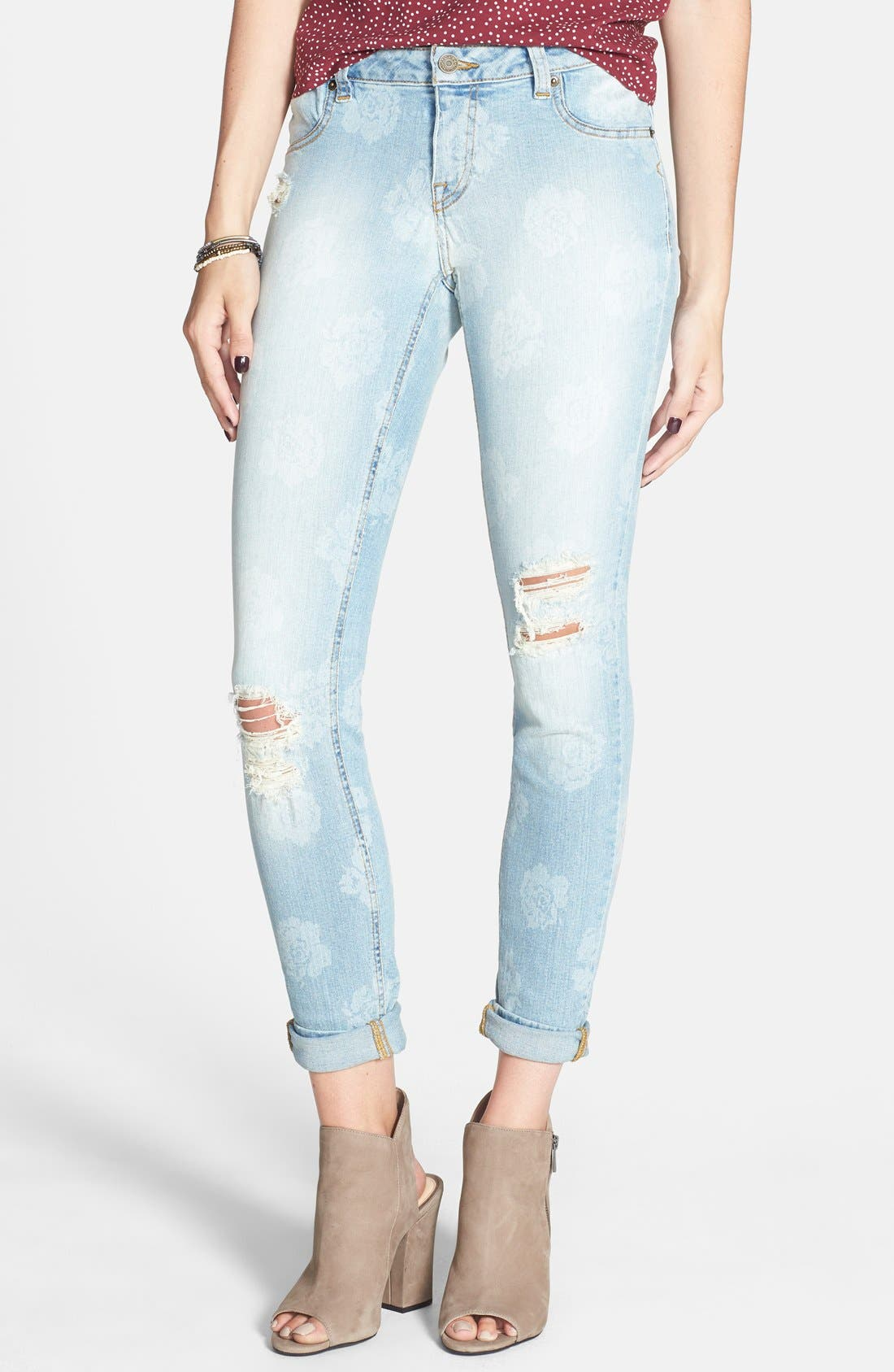 Alternate Image 1 Selected - Volcom 'Liberator' Print Skinny Jeans