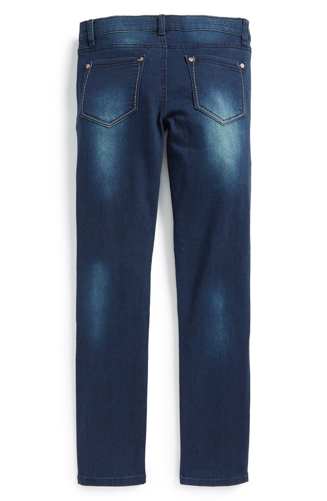 Alternate Image 2  - Vigoss Moto Skinny Jeans (Big Girls)