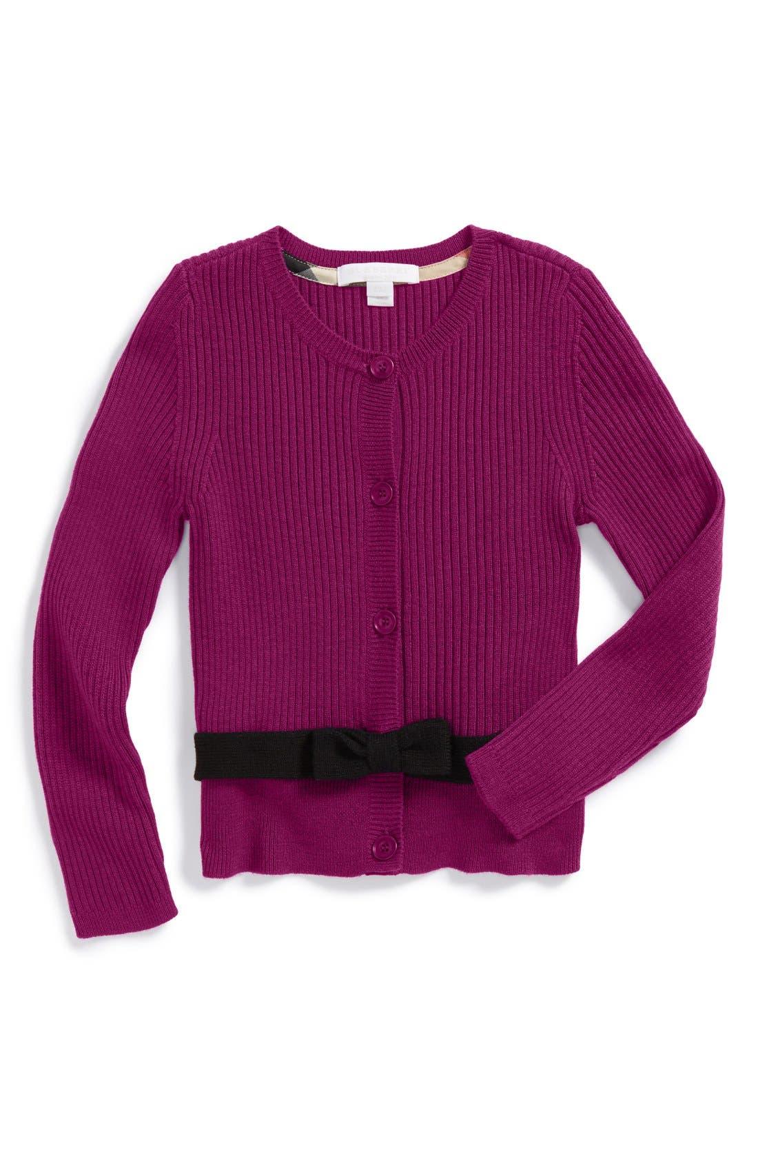Main Image - Burberry Merino Wool Belted Cardigan (Little Girls & Big Girls)