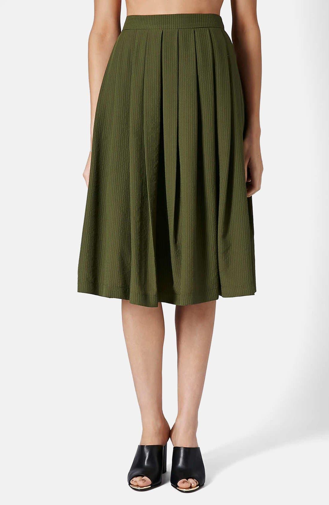 Main Image - Topshop Seersucker Midi Skirt