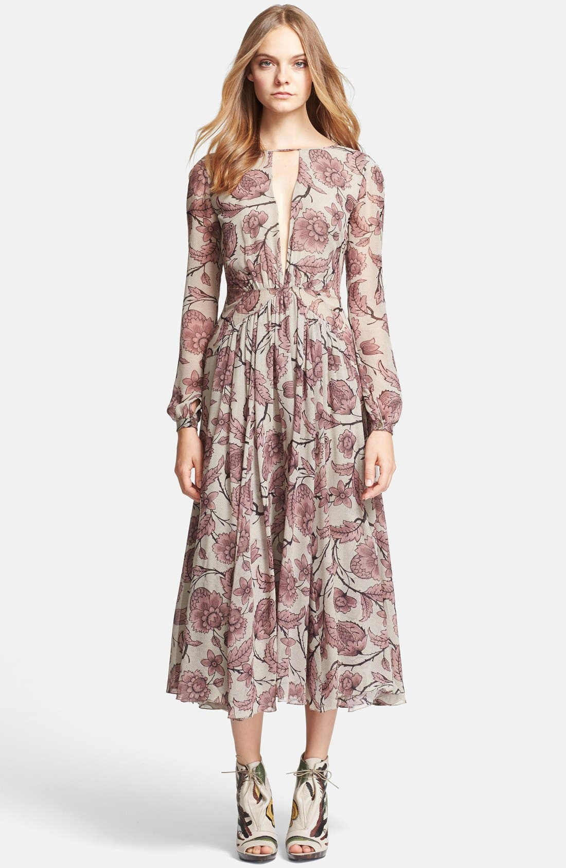Main Image - Burberry Prorsum Washed Silk Midi Dress