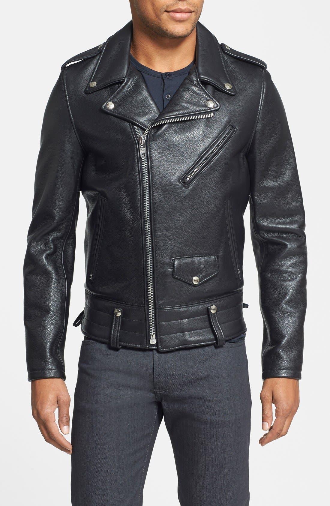 Schott NYC 'Chips' Slim Fit Moto Leather Jacket