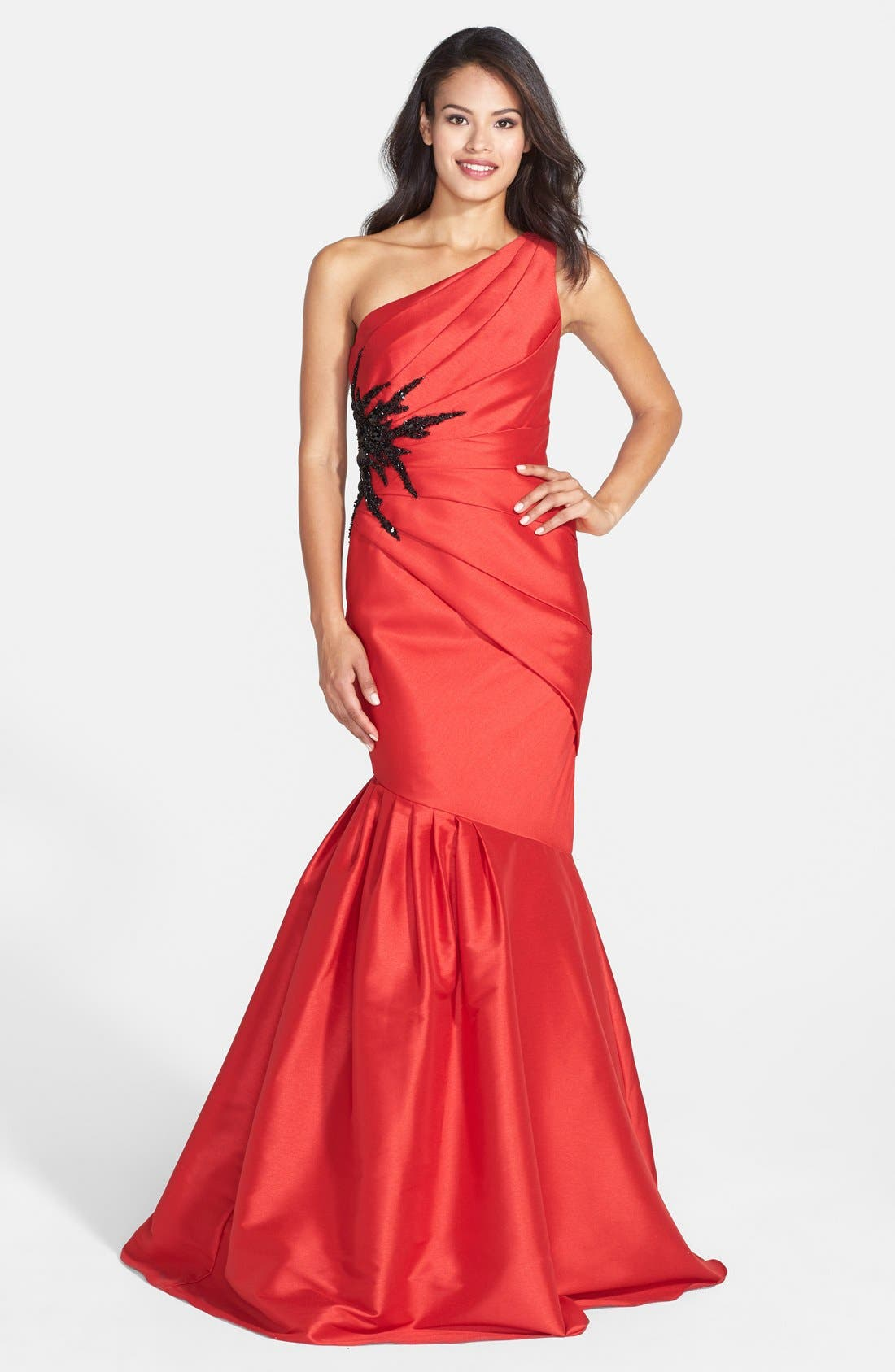 Alternate Image 1 Selected - ML Monique Lhuillier Embellished One-Shoulder Faille Mermaid Gown