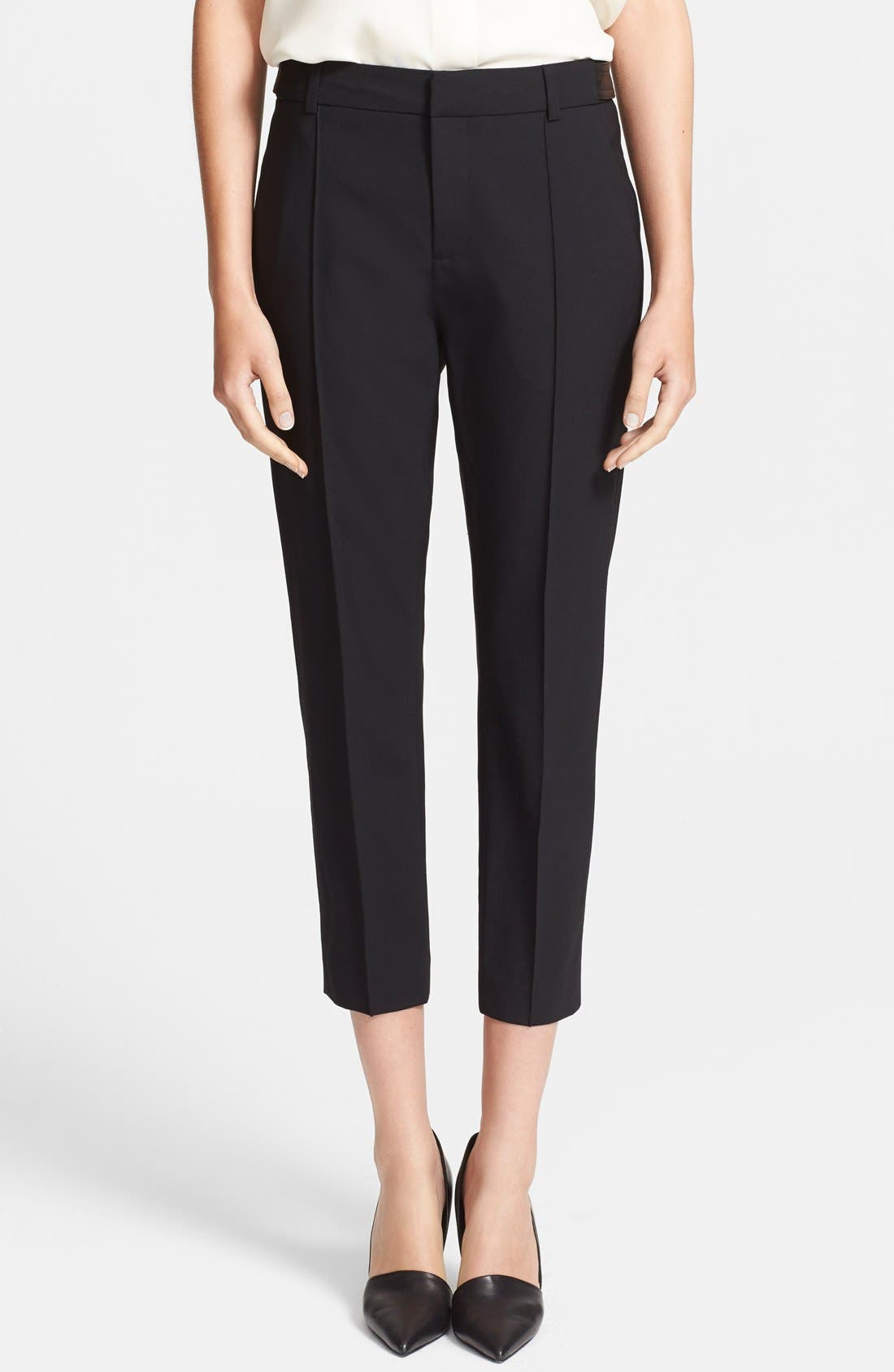 Alternate Image 1 Selected - Vince Leather Tab Pintuck Crop Trousers