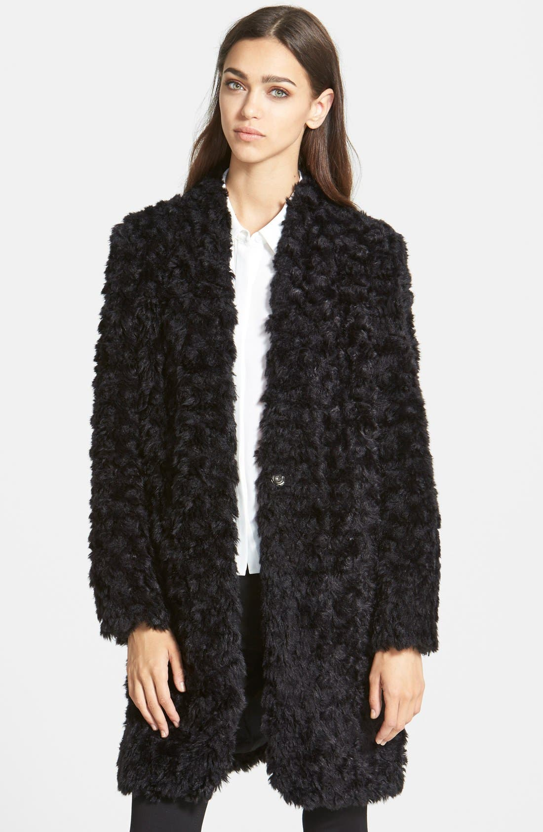 Main Image - Trouvé Shaggy Faux Fur Topper