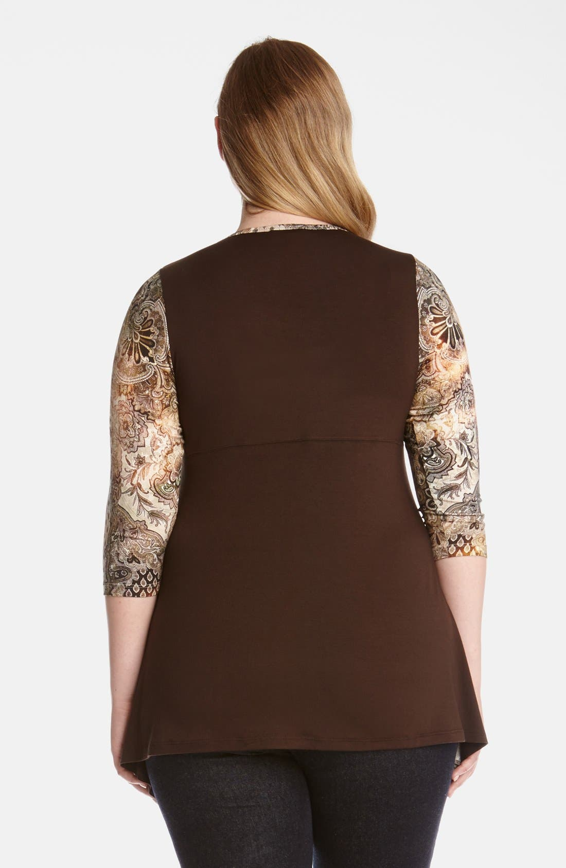 Alternate Image 2  - Karen Kane 'Canyon' Print Handkerchief Top (Plus Size)