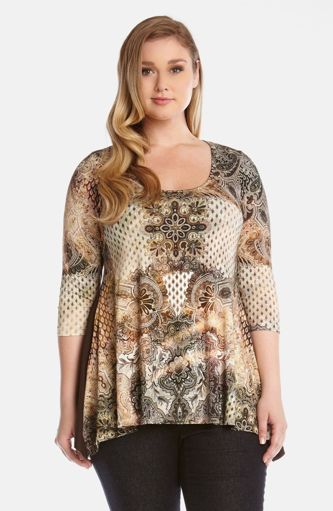 Alternate Image 1 Selected - Karen Kane 'Canyon' Print Handkerchief Top (Plus Size)