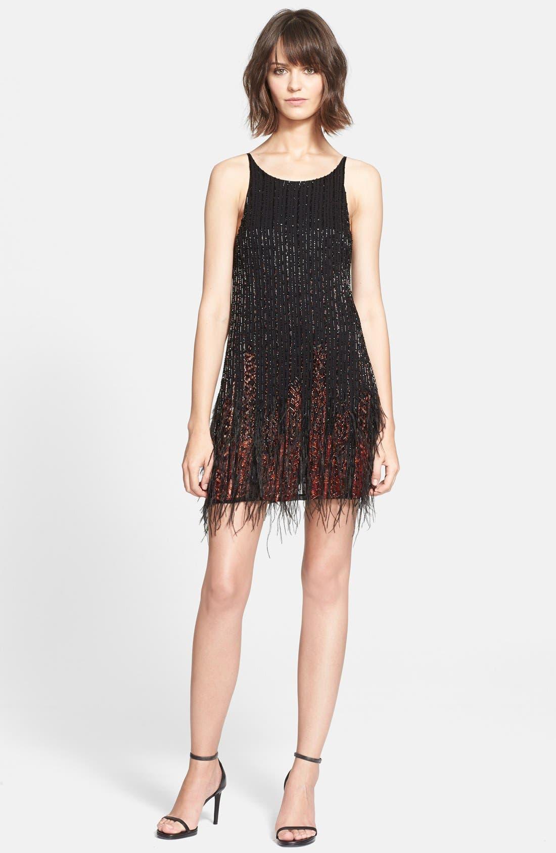 Main Image - Parker 'Monaco' Embellished Feather Sheath Dress