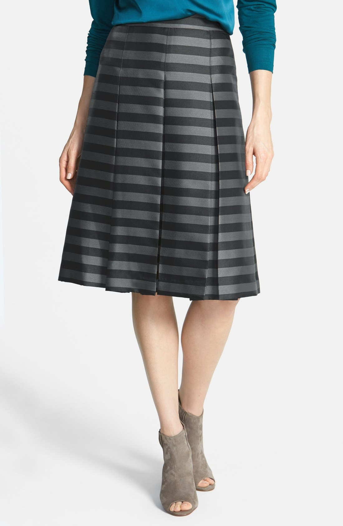 Main Image - Halogen® Pleat Midi Skirt (Petite)