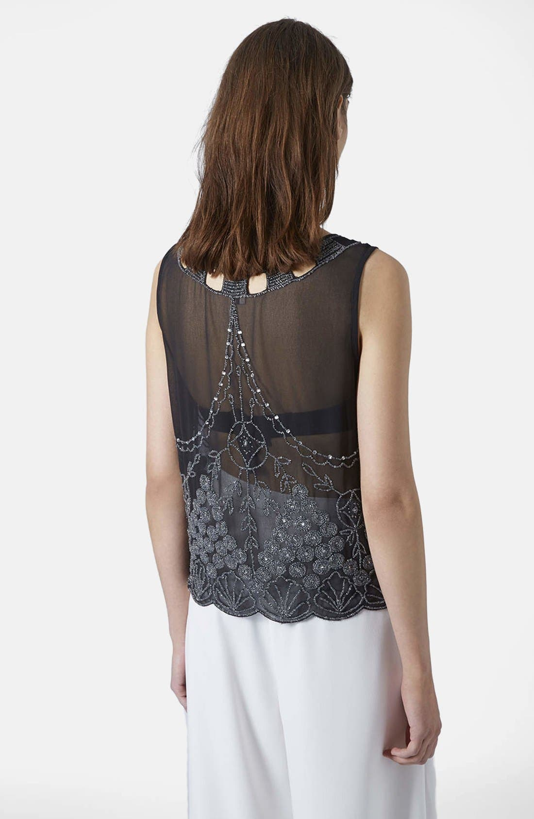 Alternate Image 2  - Topshop Embellished Sheer Sleeveless Top