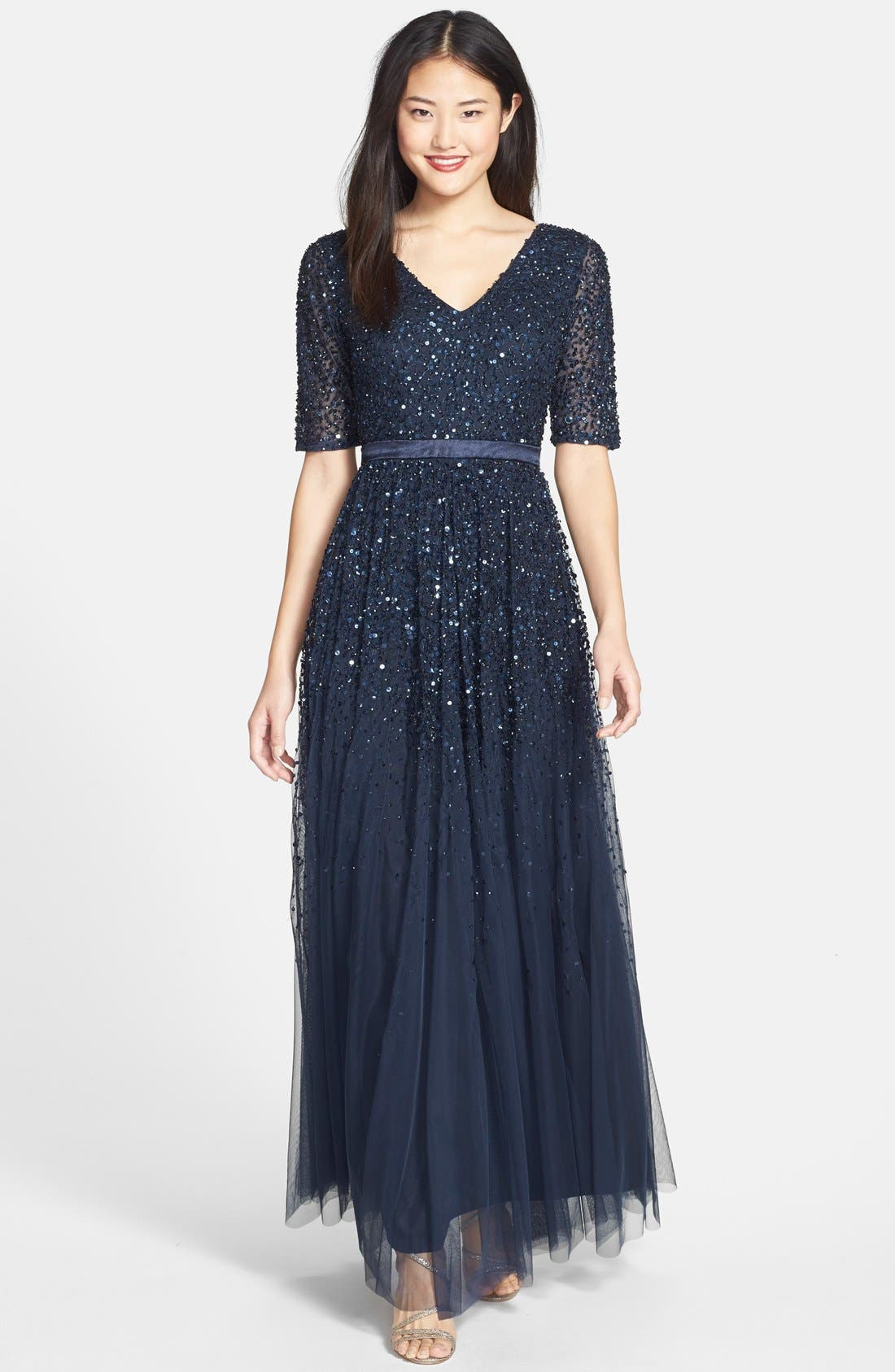 Main Image - Adrianna Papell Beaded Mesh V-Neck Gown
