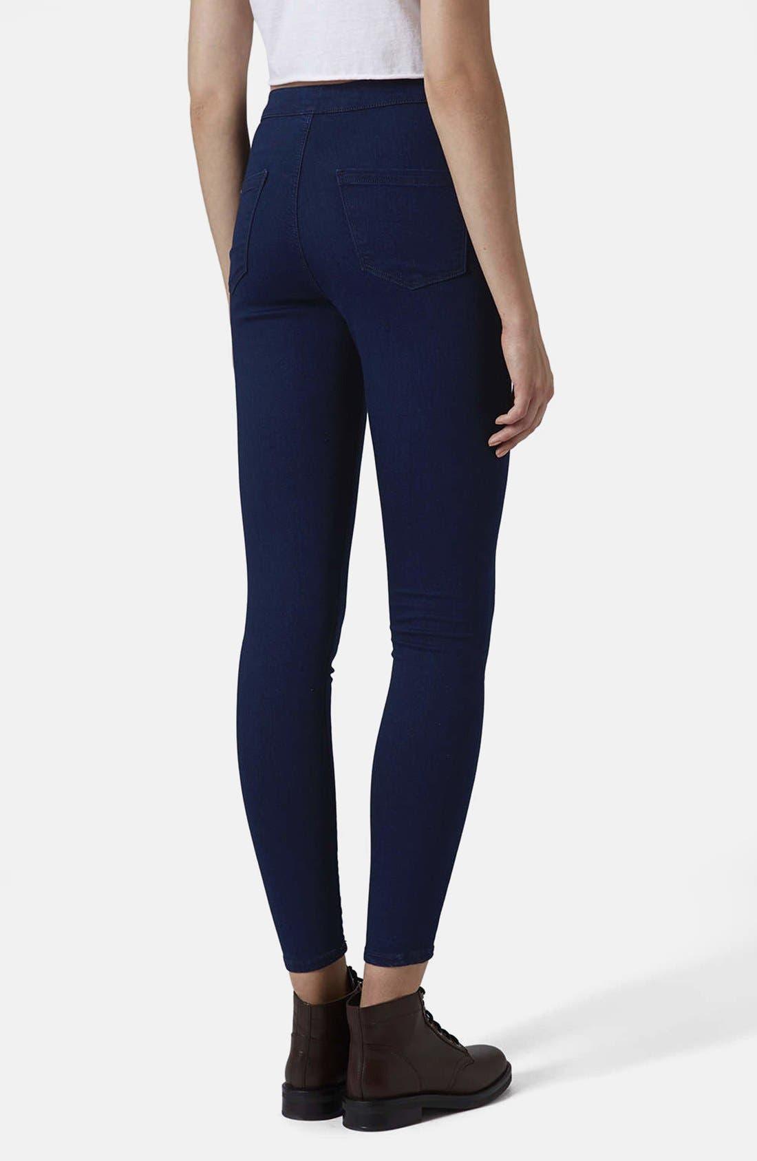 Alternate Image 2  - Topshop Moto 'Joni' High Waist Skinny Jeans (Blue)
