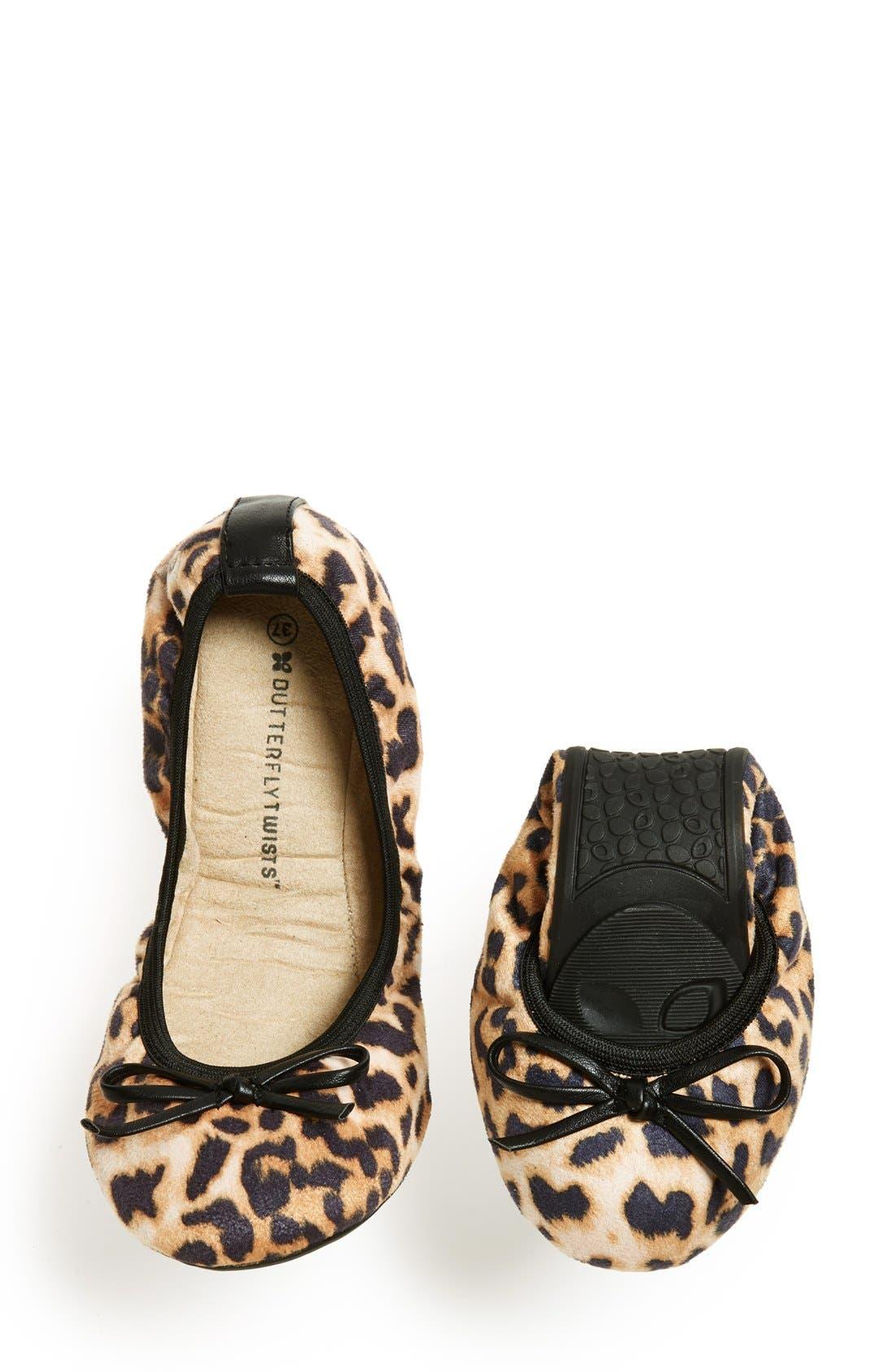 Alternate Image 5  - Butterfly Twists 'Cleo Leopard' Foldable Ballerina Flat (Women)