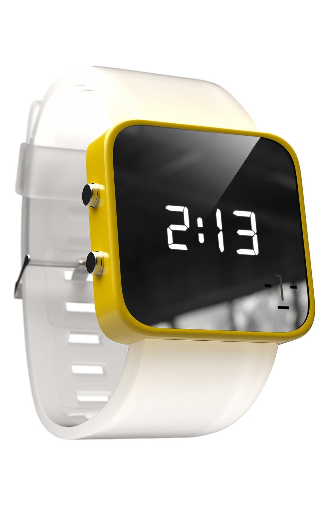Alternate Image 2  - 1:Face 'Water' Square Digital Silicone Strap Watch, 38mm
