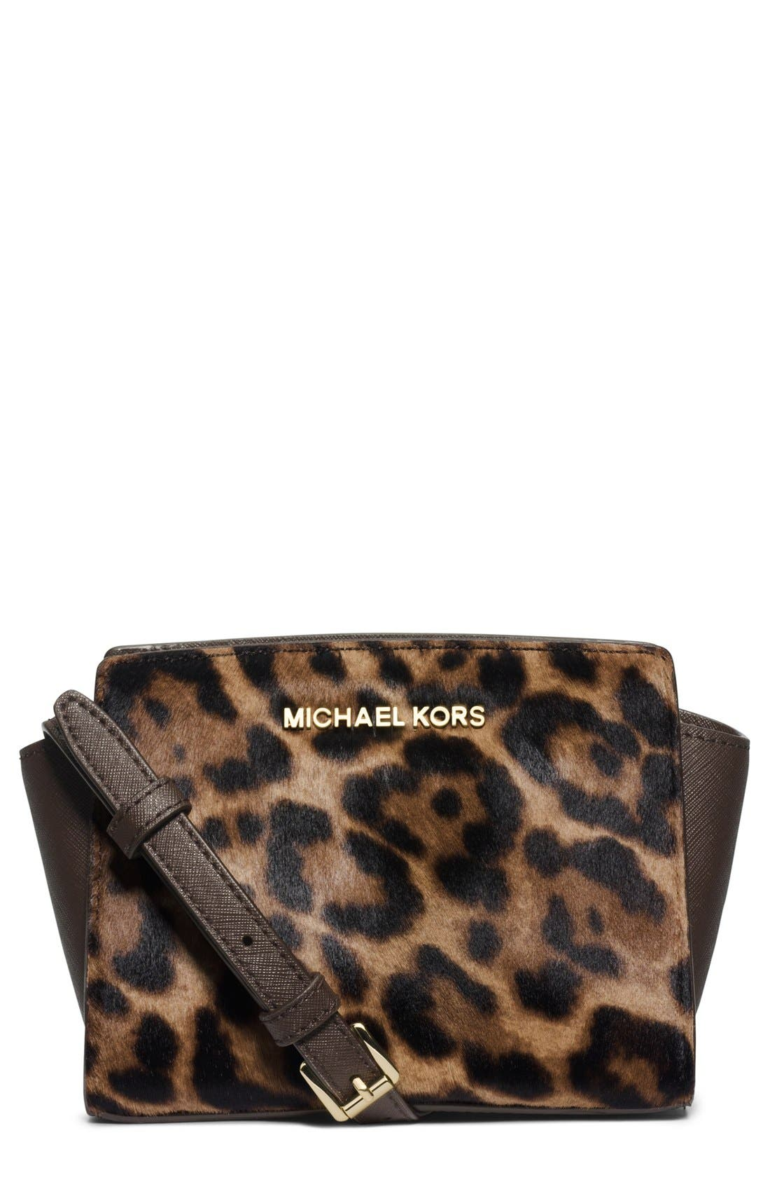 Alternate Image 1 Selected - MICHAEL Michael Kors 'Mini Selma' Calf Hair & Leather Messenger Bag