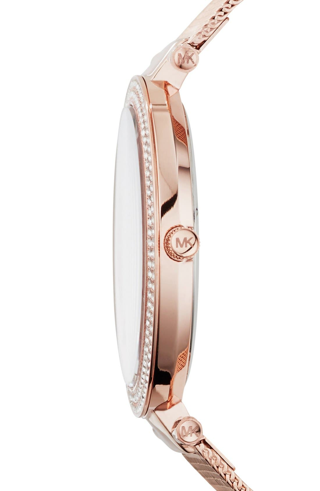 Alternate Image 3  - Michael Kors 'Darci' Crystal Bezel Mesh Strap Watch, 39mm