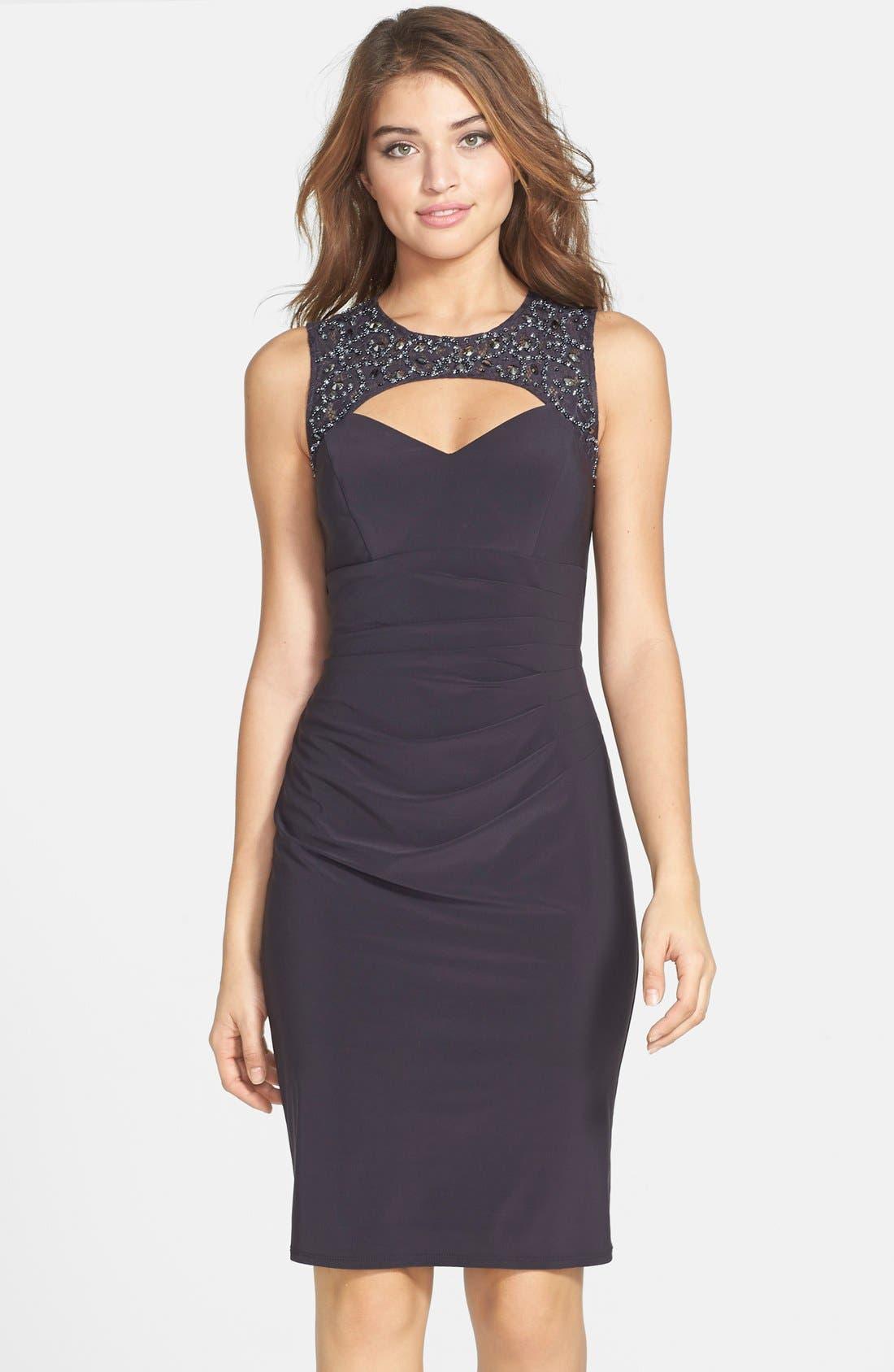 Main Image - Xscape Embellished Lace & Jersey Cutout Sheath Dress