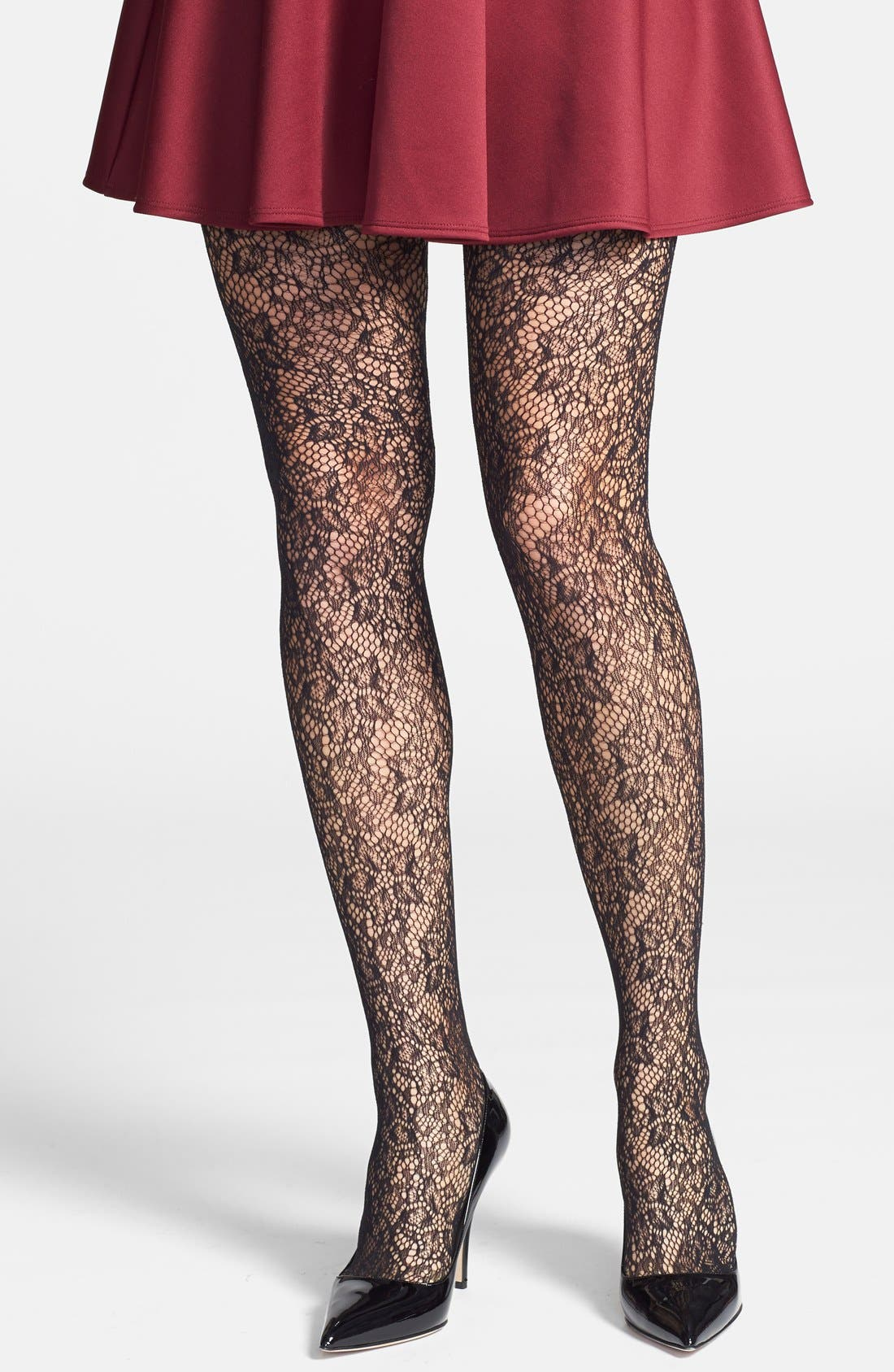 Alternate Image 1 Selected - DKNY Jacquard Lace Tights