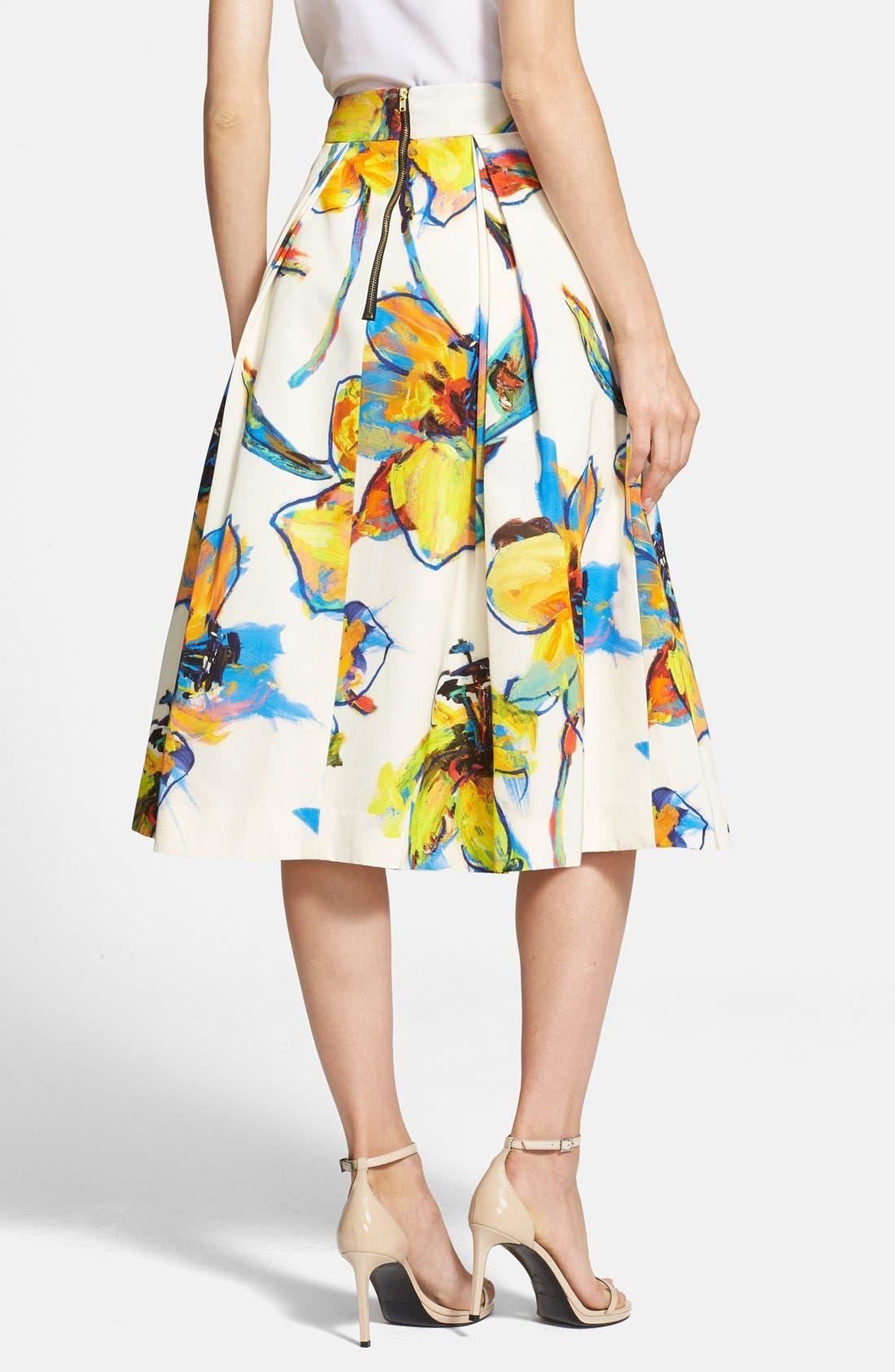 Alternate Image 2  - Milly 'Luna' Floral Print Pleated Midi Skirt