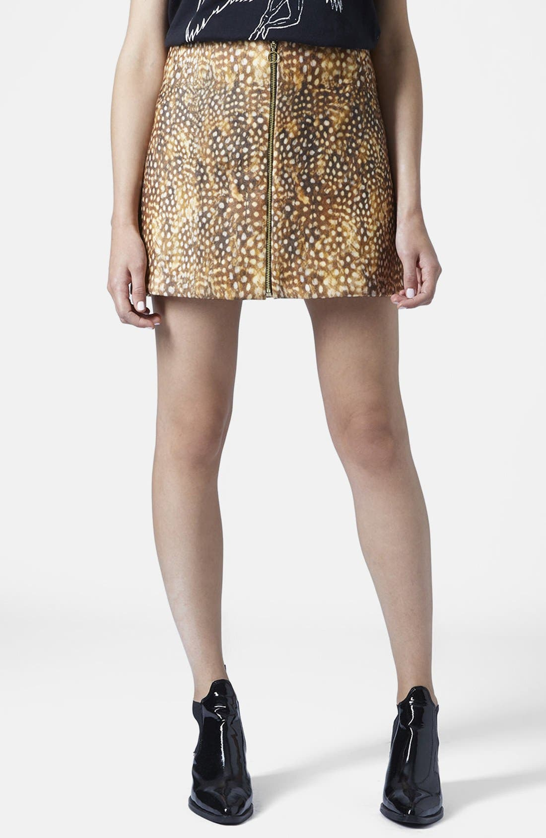 Alternate Image 1 Selected - Topshop Print Felt Miniskirt