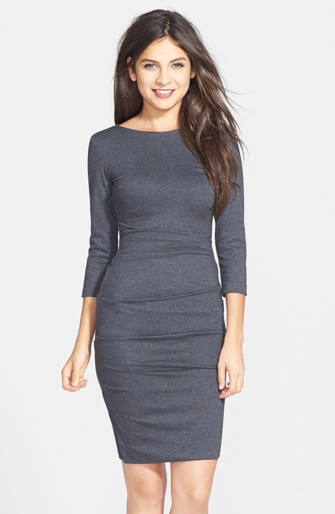 Alternate Image 1 Selected - Nicole Miller Ruched Ponte Knit Sheath Dress