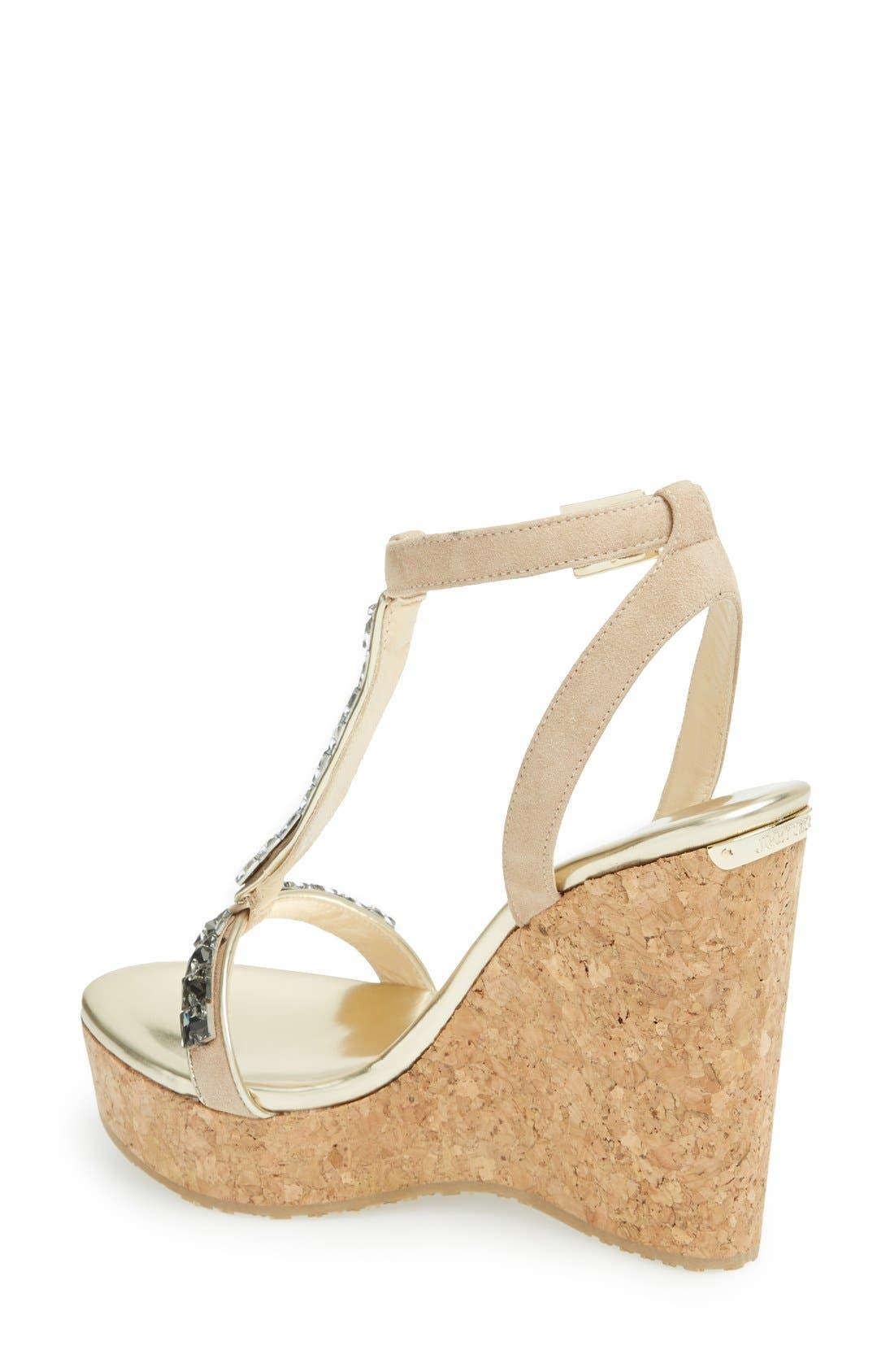 Alternate Image 2  - Jimmy Choo 'Naima' Jeweled T-Strap Wedge Sandal (Women)