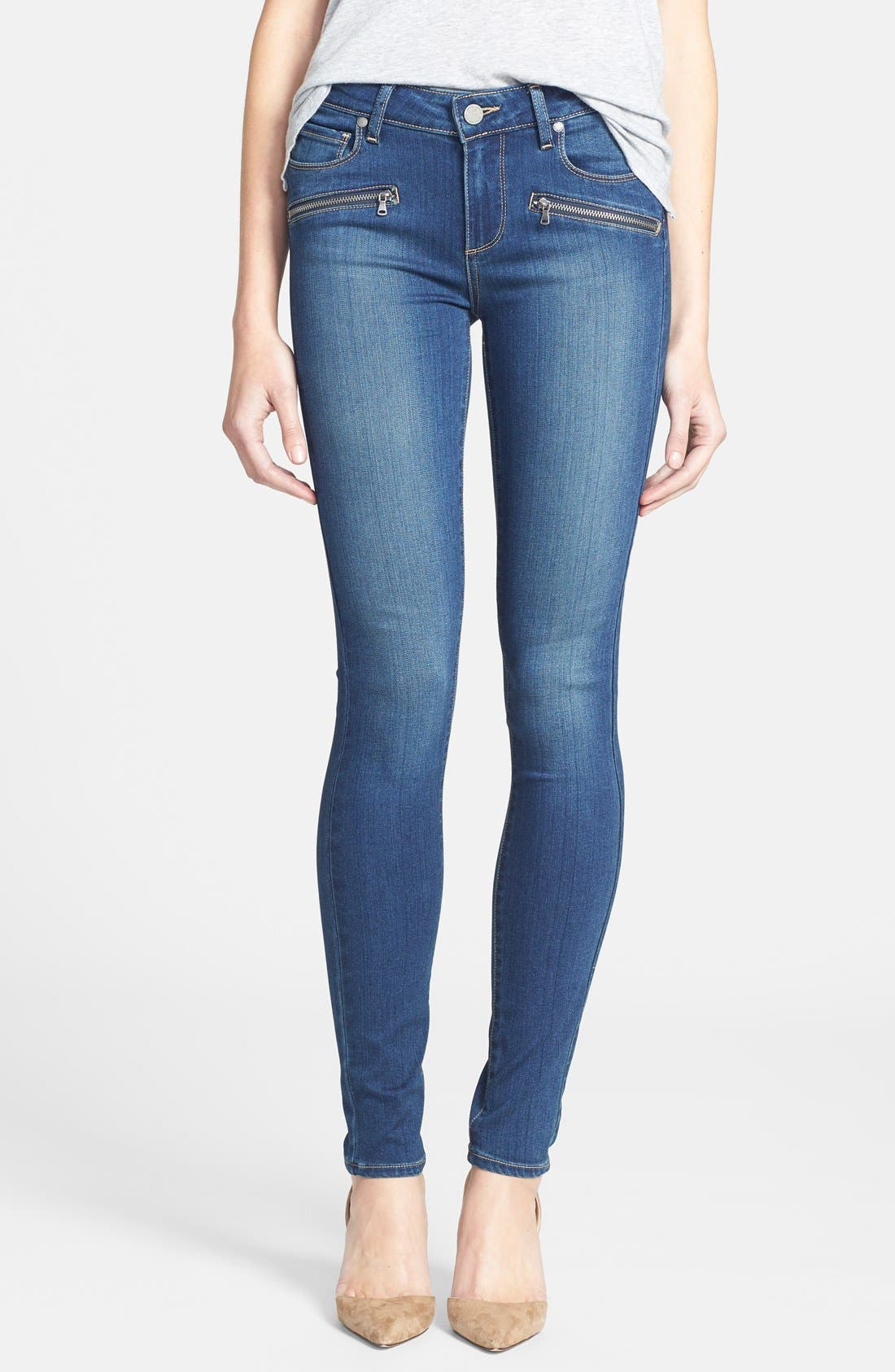 Main Image - Paige Denim 'Indio' Zip Detail Ultra Skinny Jeans (Easton No Whiskers)