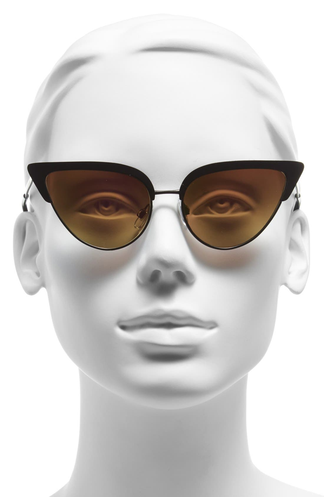 Alternate Image 2  - Steve Madden 53mm Vintage Metal Cat Eye Sunglasses