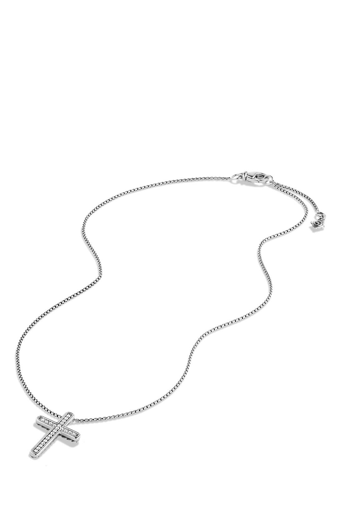 Alternate Image 2  - David Yurman 'Petite Pavé' Cross Necklace with Diamonds