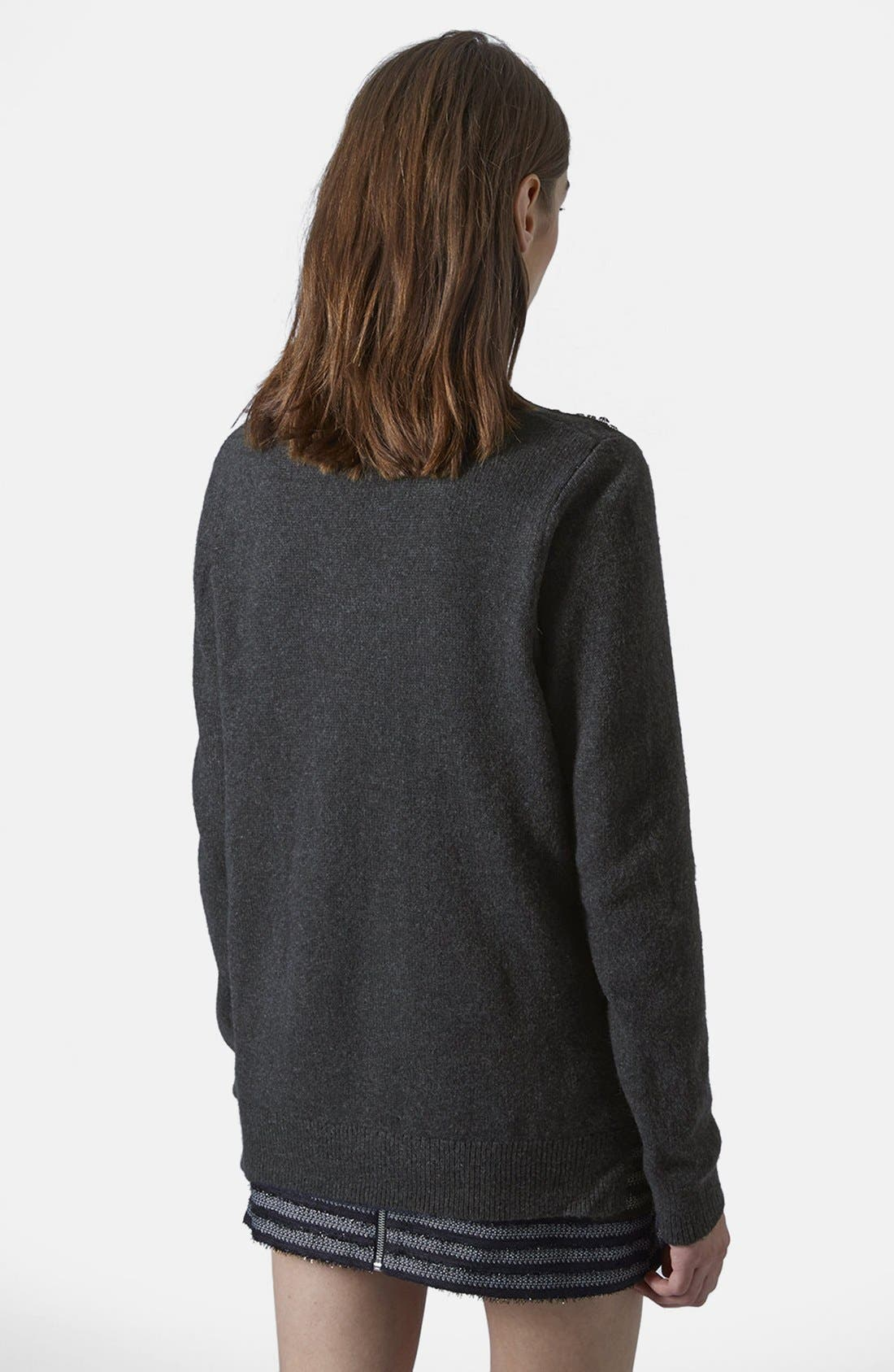 Alternate Image 2  - Topshop Embellished Shoulder Sweater