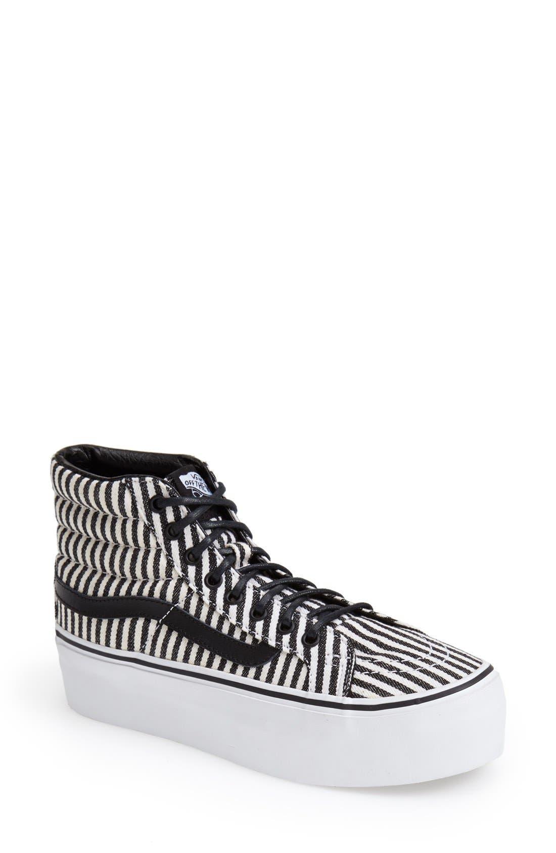 Alternate Image 1 Selected - Vans 'Hickory Stripes Sk8-Hi Platform' Sneaker (Women)