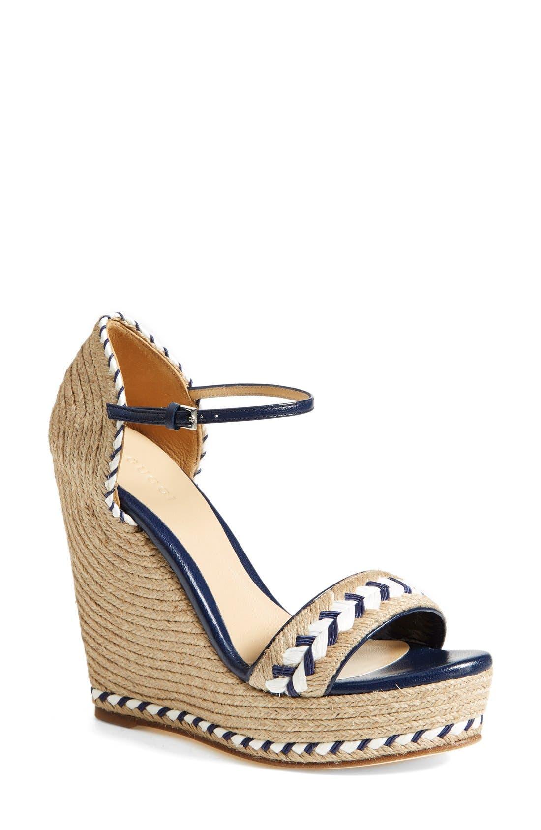 Main Image - Gucci 'Tiffany' Wedge Sandal (Women)