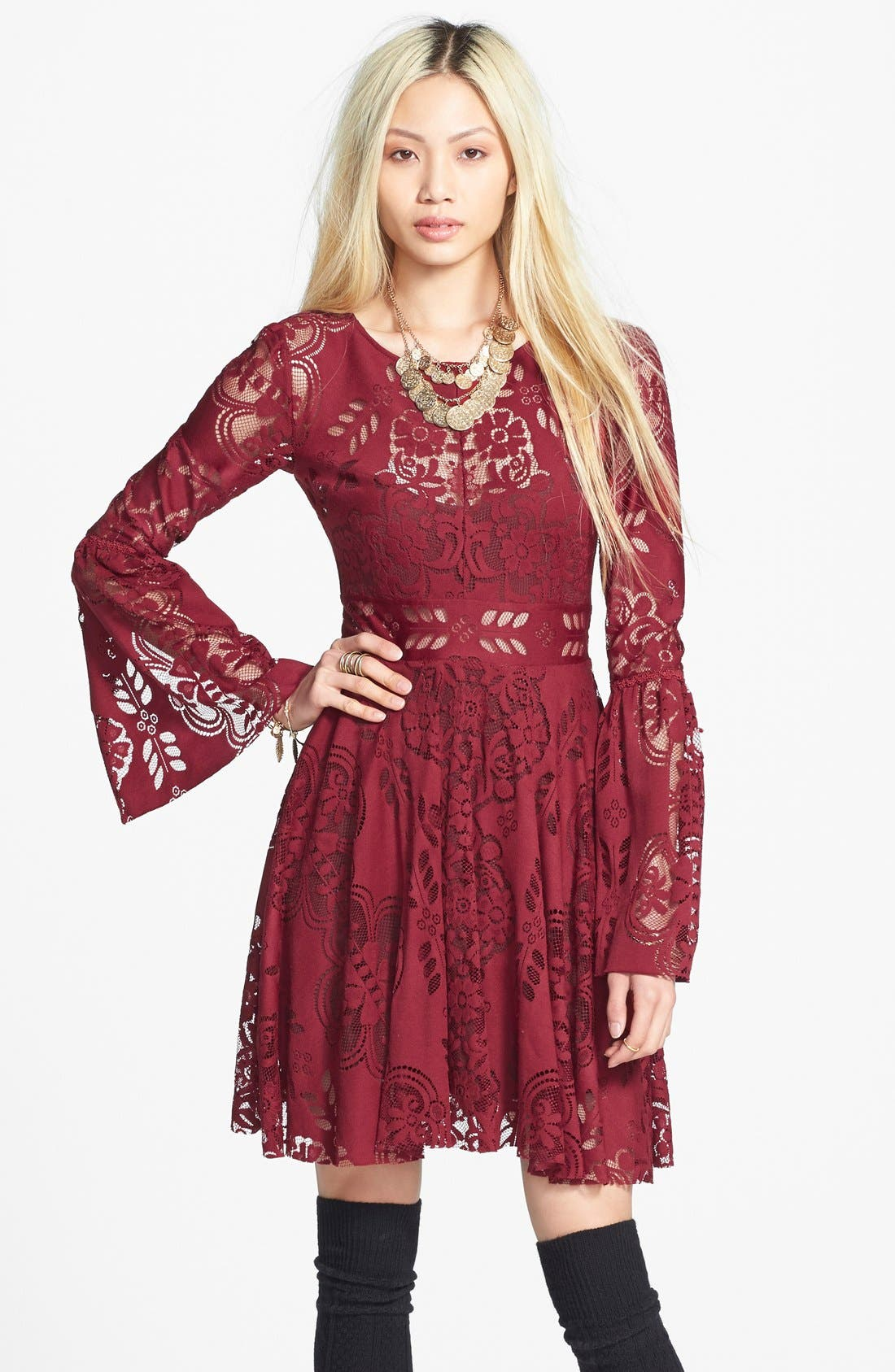 Main Image - Free People 'Lace Lovers Folk Song' Bell Sleeve Cutout Skater Dress