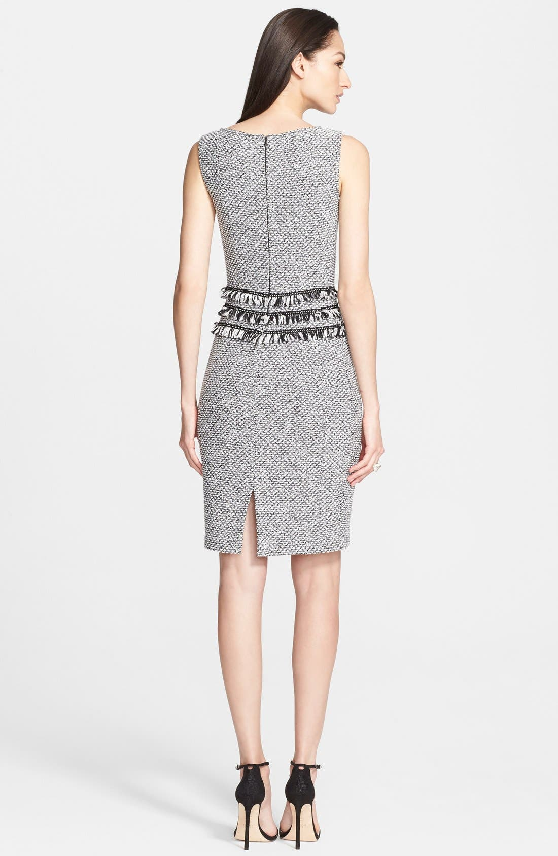 Alternate Image 2  - St. John Collection Marled Twill Knit Sheath Dress with Frayed Georgette Fringe