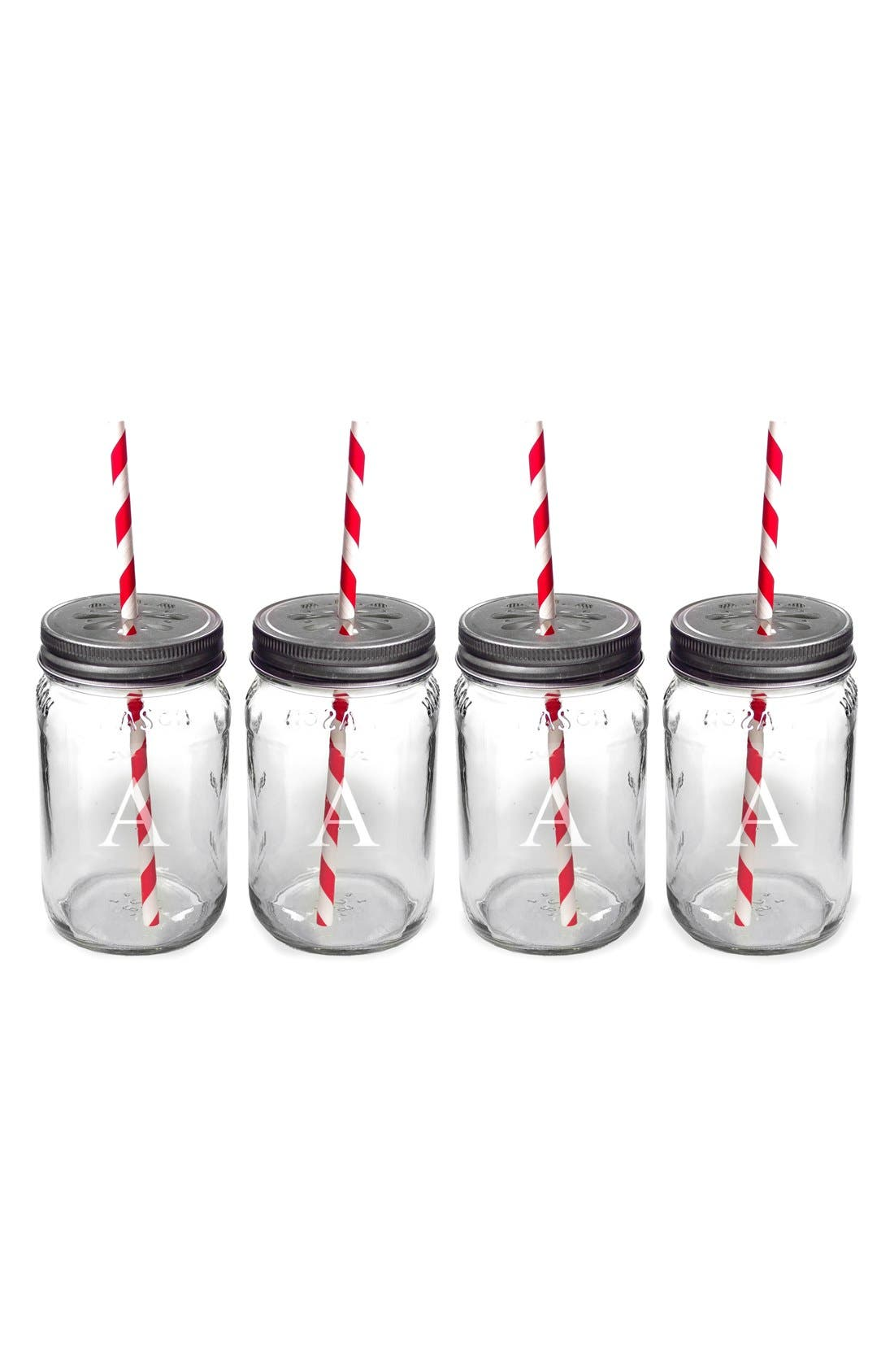Alternate Image 1 Selected - Cathy's Concepts Monogram Drinking Mason Jar Mugs (Set of 4)