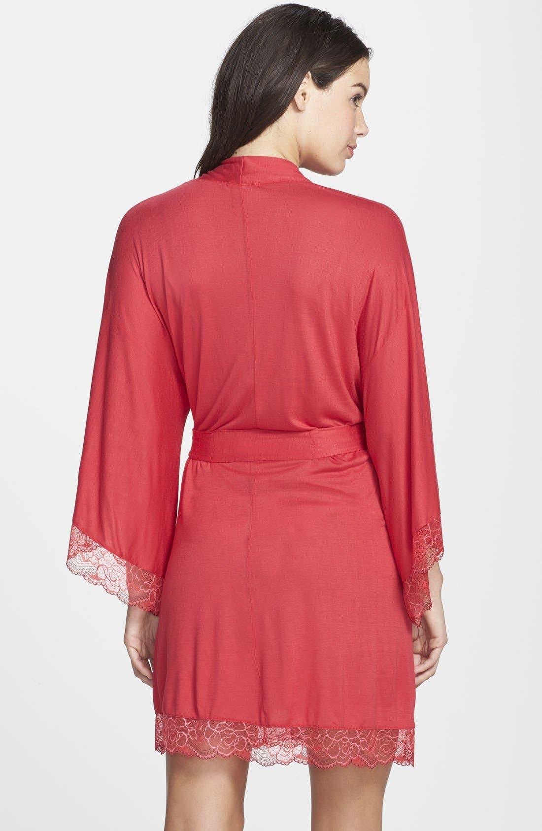 Alternate Image 2  - Eberjey 'Cassandra' Lace Trim Kimono Robe