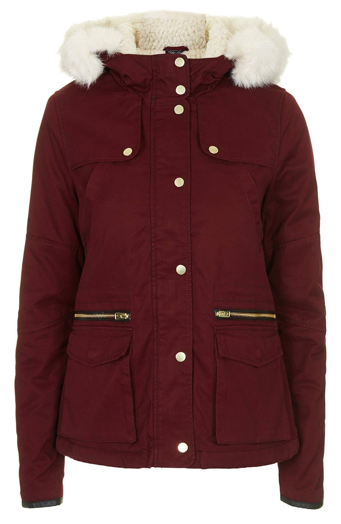 Alternate Image 3  - Topshop 'Walter' Hooded Cotton Parka with Faux Fur Trim