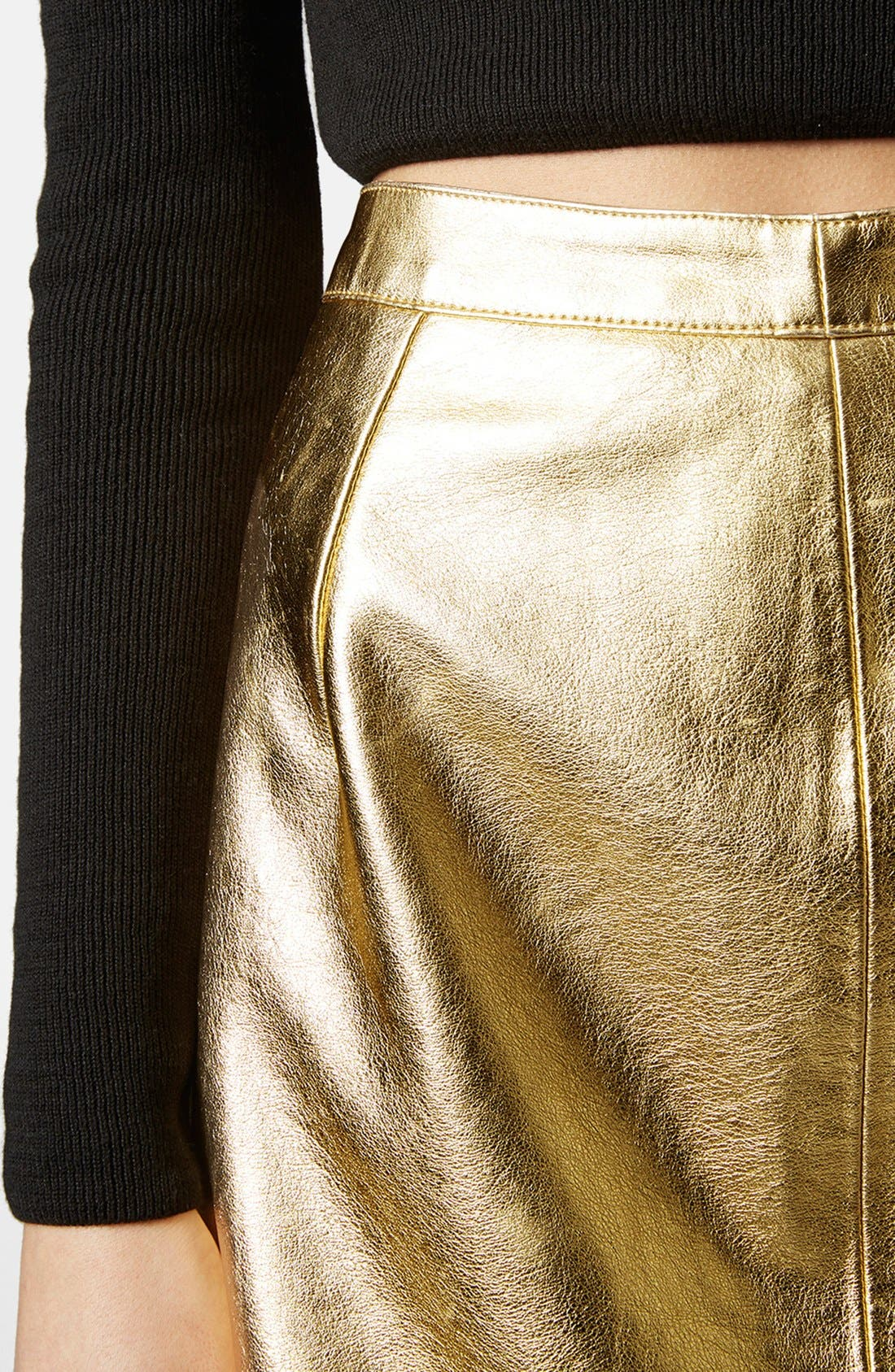 Alternate Image 4  - Topshop Golden Miniskirt