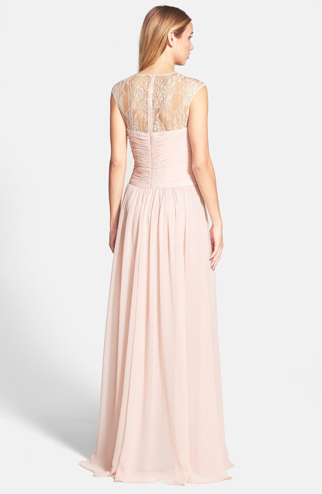 Alternate Image 2  - JS Boutique Lace Yoke Ruched Chiffon Gown