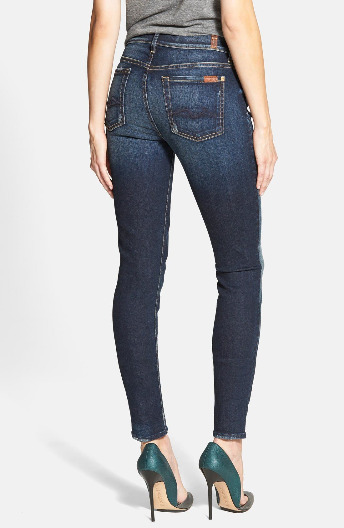 Alternate Image 2  - 7 For All Mankind® Mid Rise Skinny Jeans (Alpine Blue)